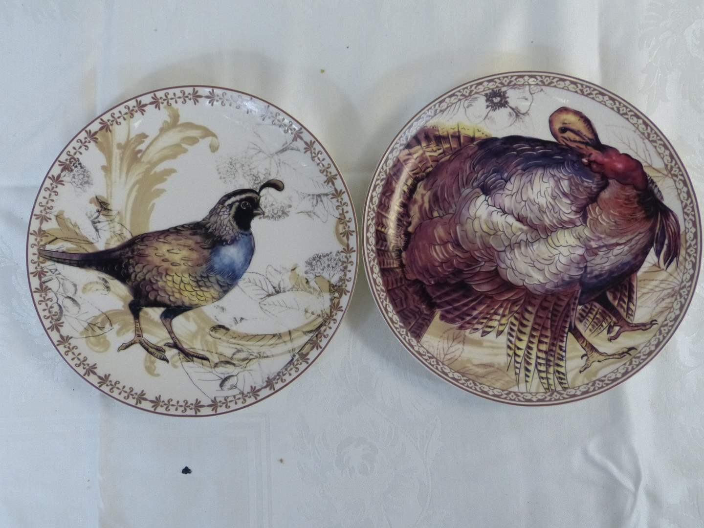 """Lot # 46 2 Collector Biltmore for the home Autumn Turkey Bird plates 10"""" across (main image)"""