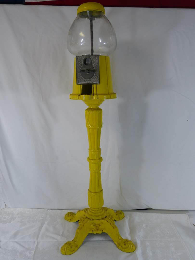 """Lot # 182 Vintage gumball machine (no key needed) 40"""" tall (main image)"""