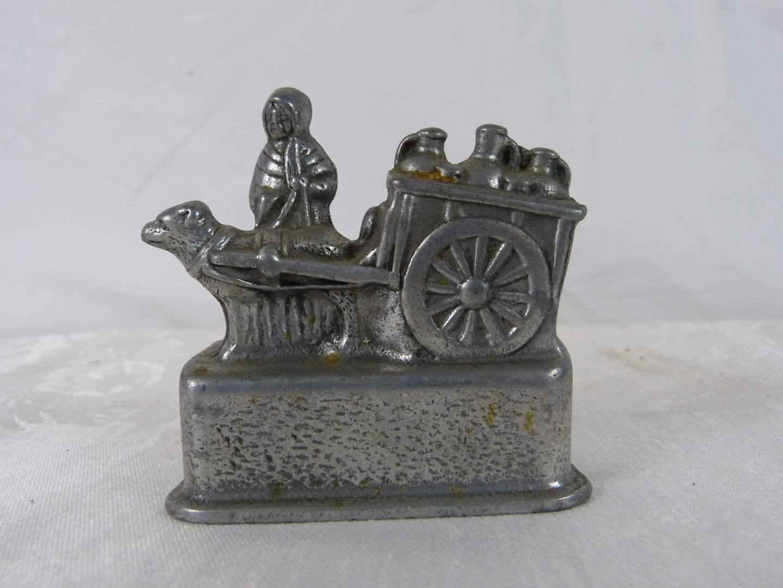 """Lot # 189 Pot metal miniature 3X3"""" """"Six Penny Piece Bank""""  (main image)"""