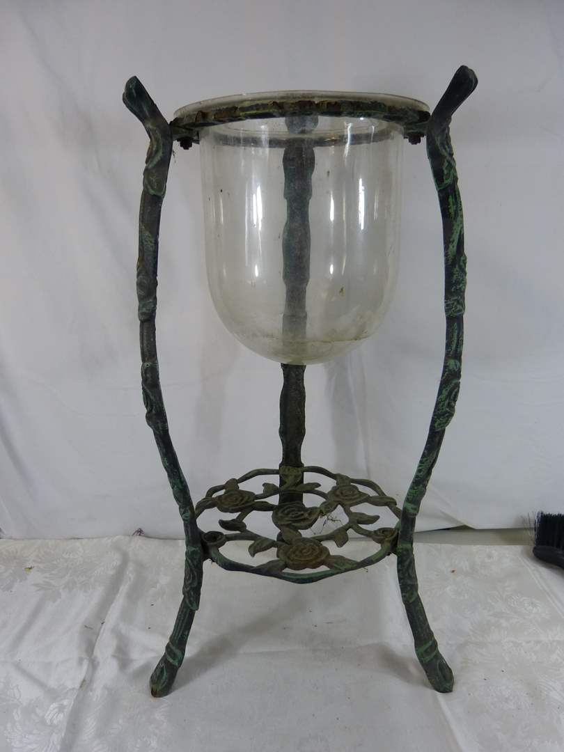 """Lot # 217 Great pot metal planter or candle holder 26"""" tall (main image)"""
