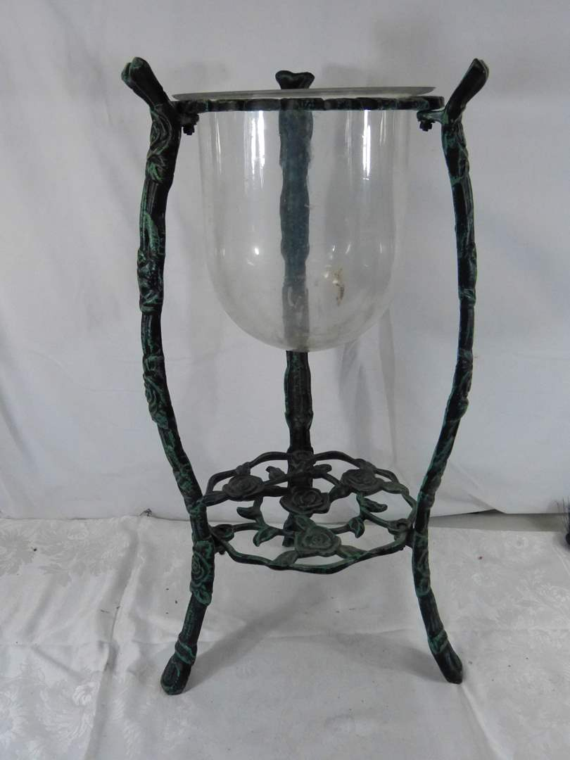 """Lot # 219 Great pot metal planter or candle holder 26"""" tall (main image)"""