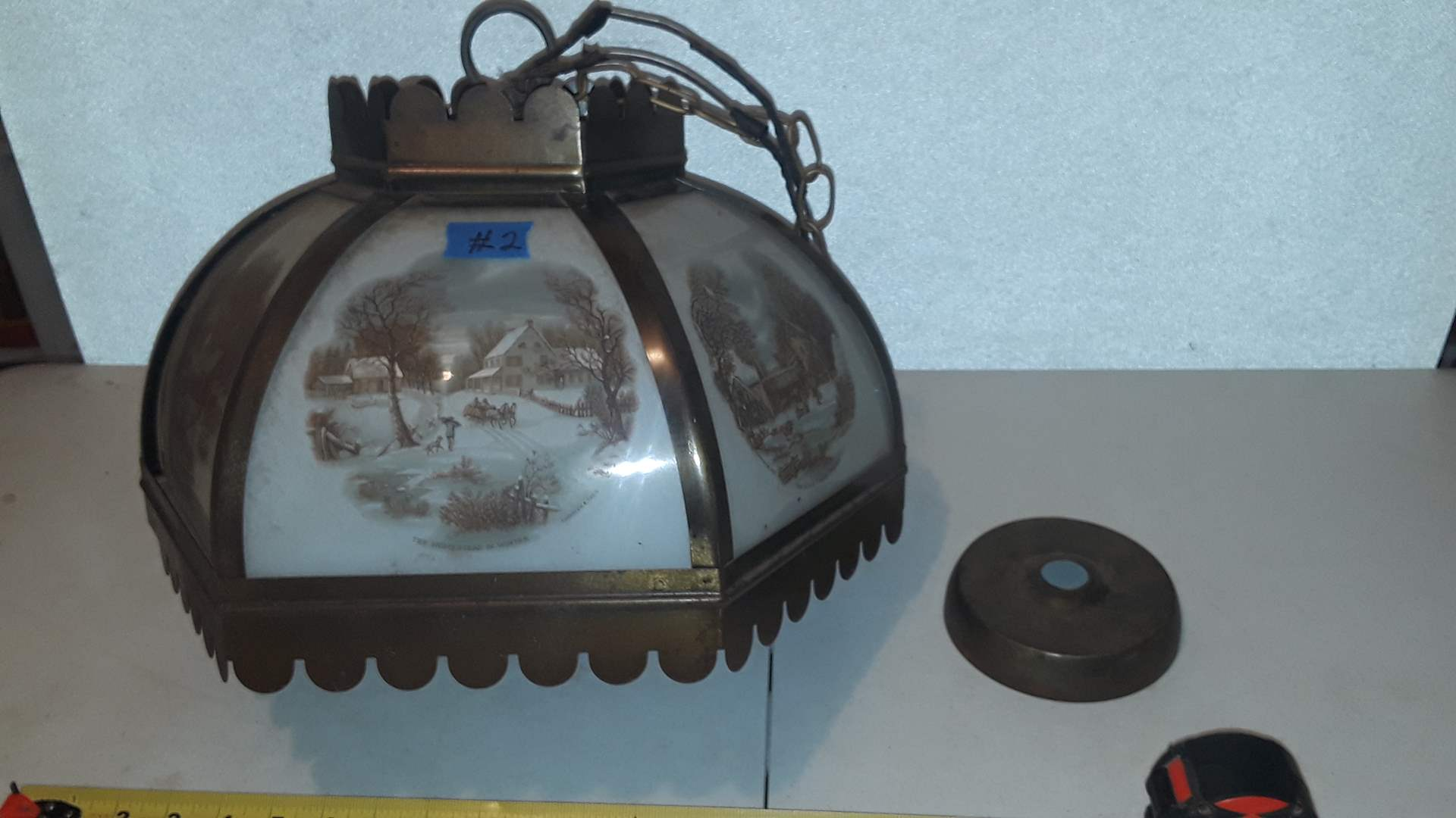 Lot # 2 CURRIER AND IVES OVERHEAD LIGHT, GLASS LOOKS GOOD