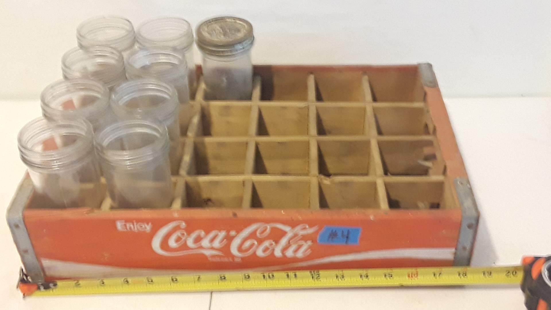 Lot # 4 COCA COLA CRATE, GOOD CONDITION WITH JARS