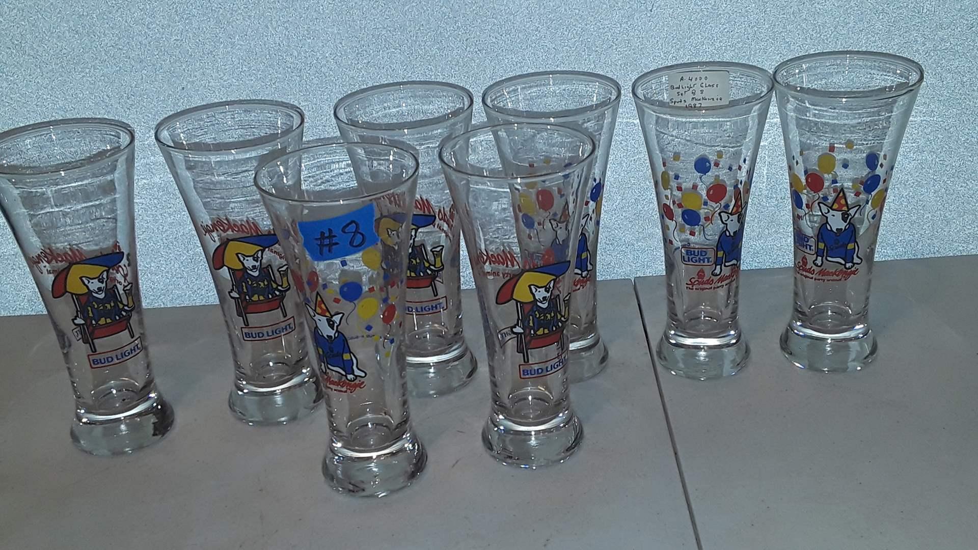 Lot # 8 SPUDS MCKENZIE 1987 BEER GLASSES, SET OF 8