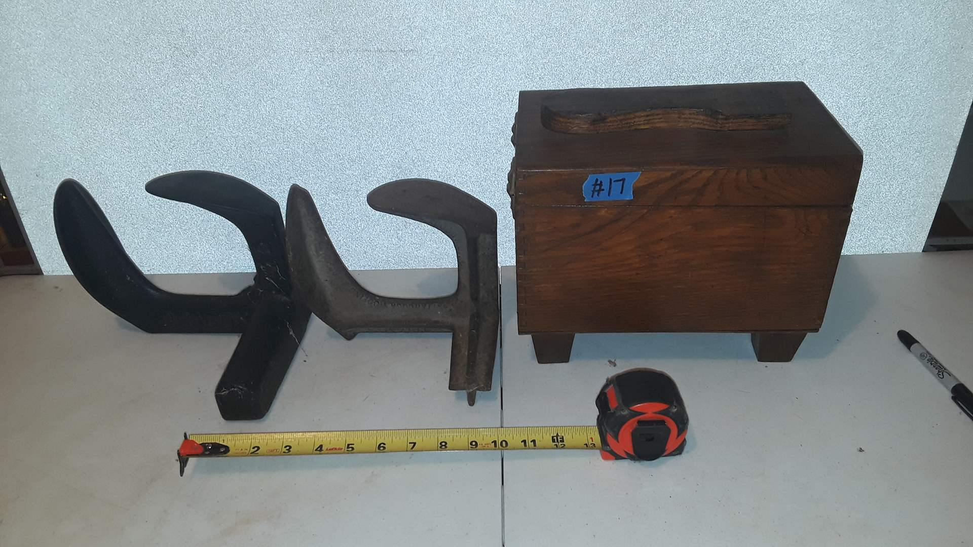 Lot # 17 CAST IRON COBBLERS TOOLS AND SHOE SHINE BOX