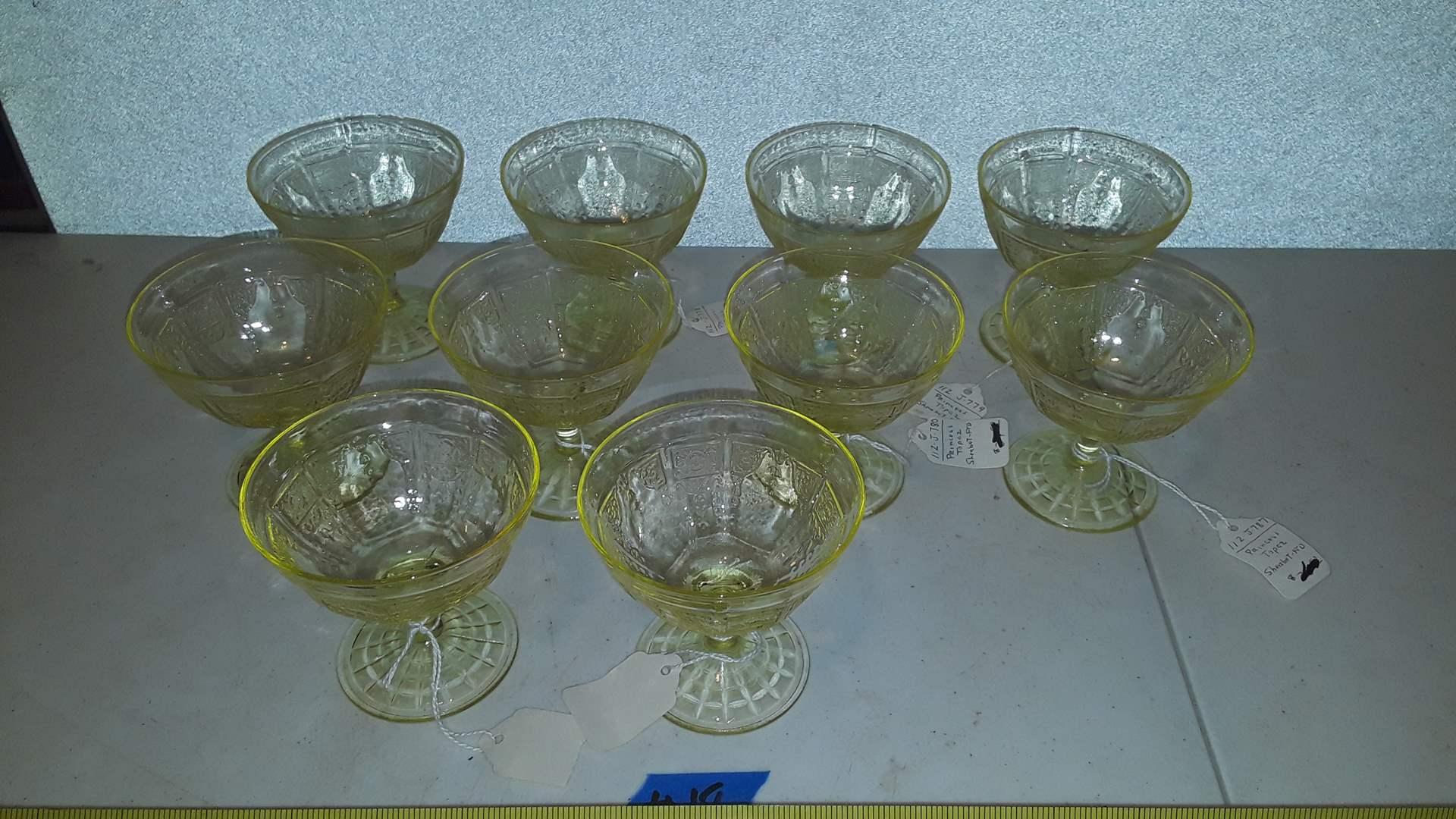 Lot # 18 YELLOW DEPRESSION GLASS,  PRINCESS TOPAZ SHERBET CUPS