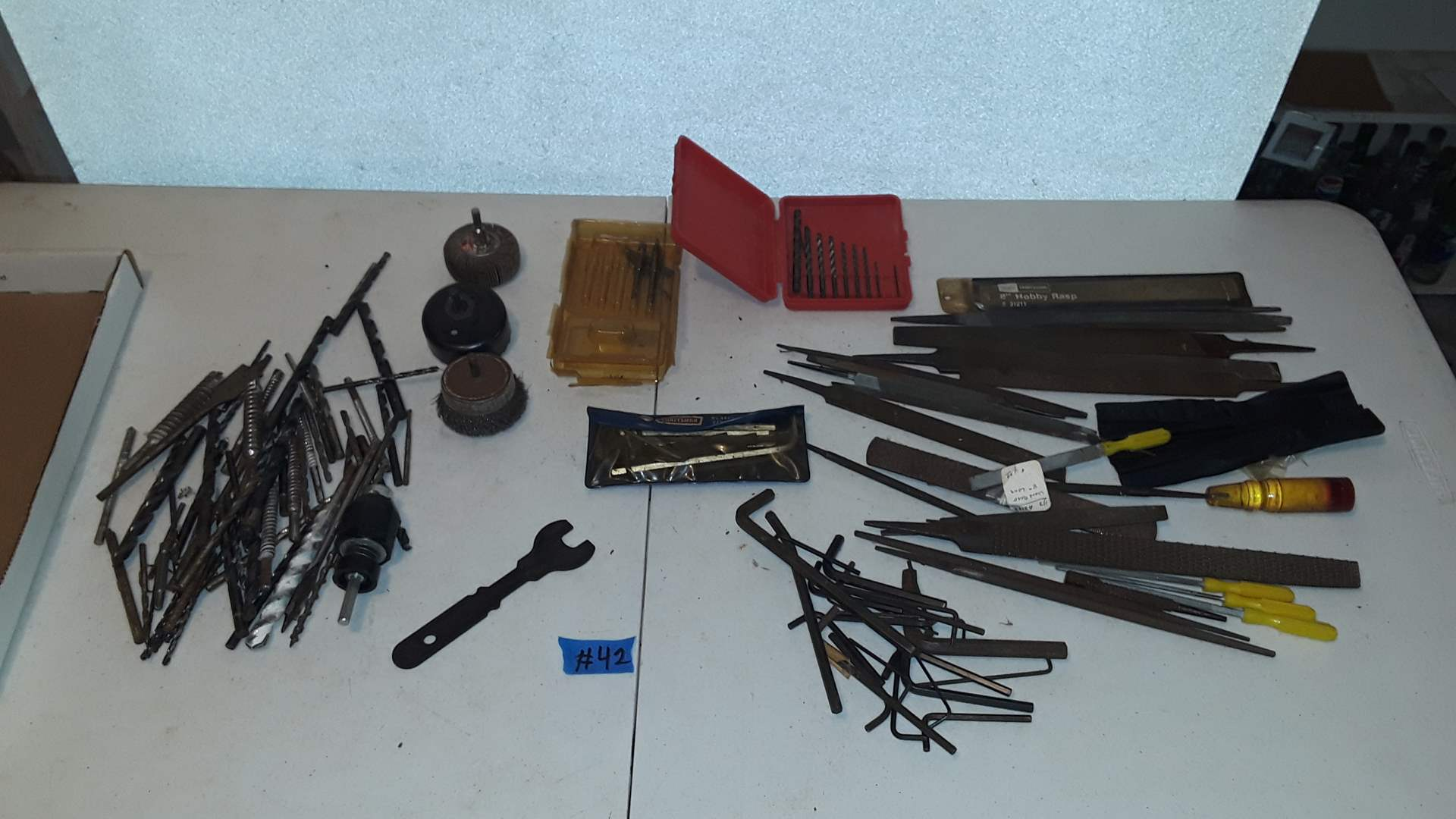 Lot # 42 MIXED DRILL BITS,  FILES, ALLAN WRENCHES