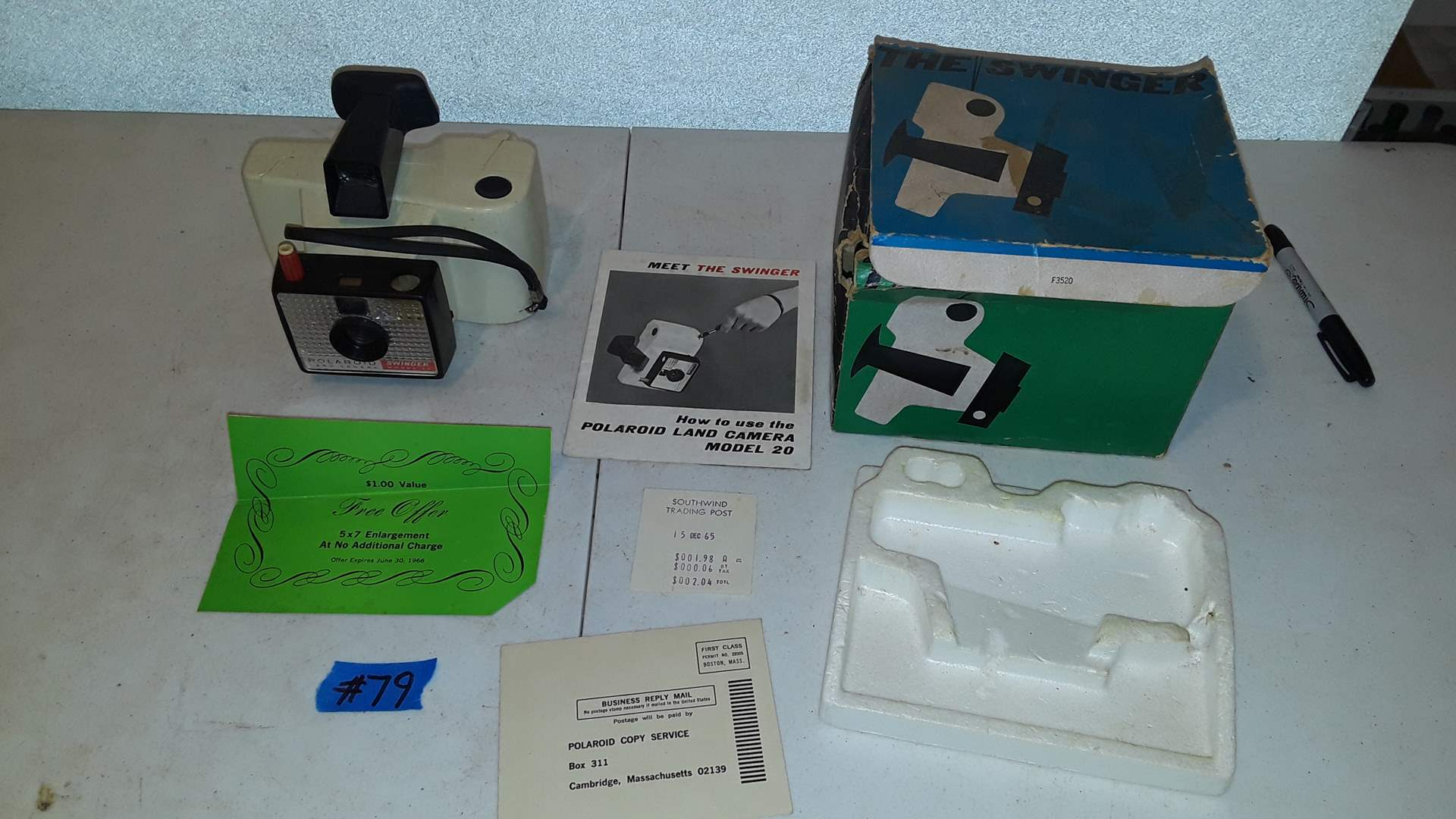 Lot # 79 POLAROID SWINGER MODEL 20 CAMERA WITH ORIGINAL RECEIPT AND STAMPS