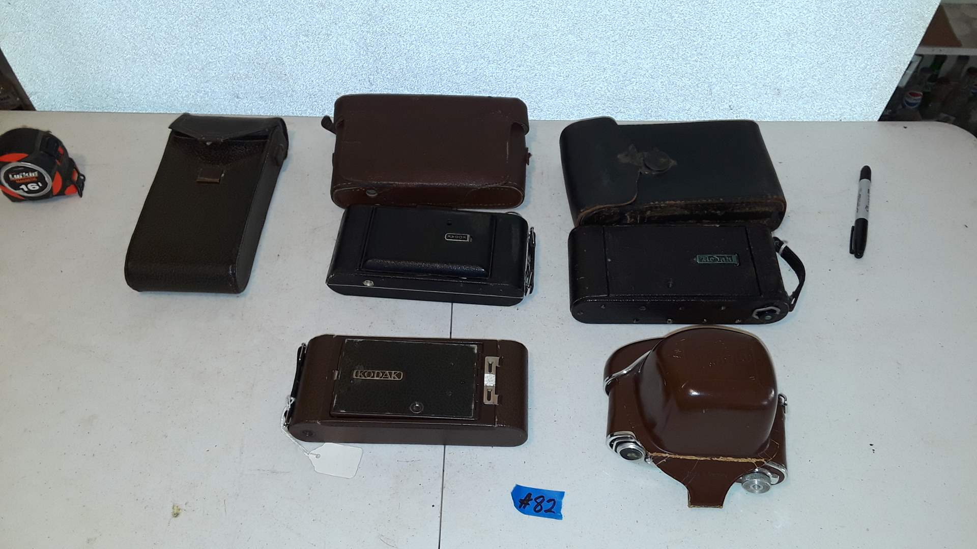 Lot # 82 - 4 VINTAGE KODAK CAMERAS, ALL ARE IN GOOD CONDITION, CASES HAVE SOME DAMAGE