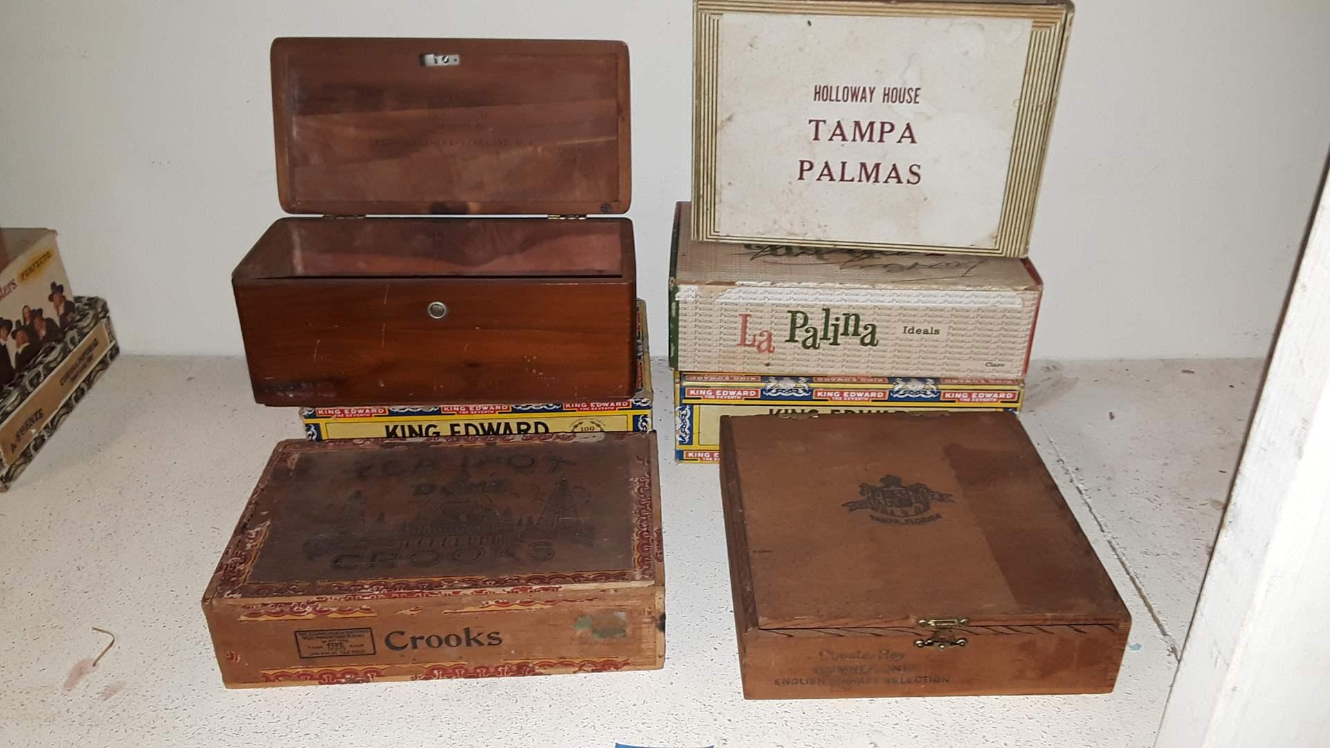 Lot # 85 ANTIQUE CIGAR BOXES AND LANE CEDAR CHEST