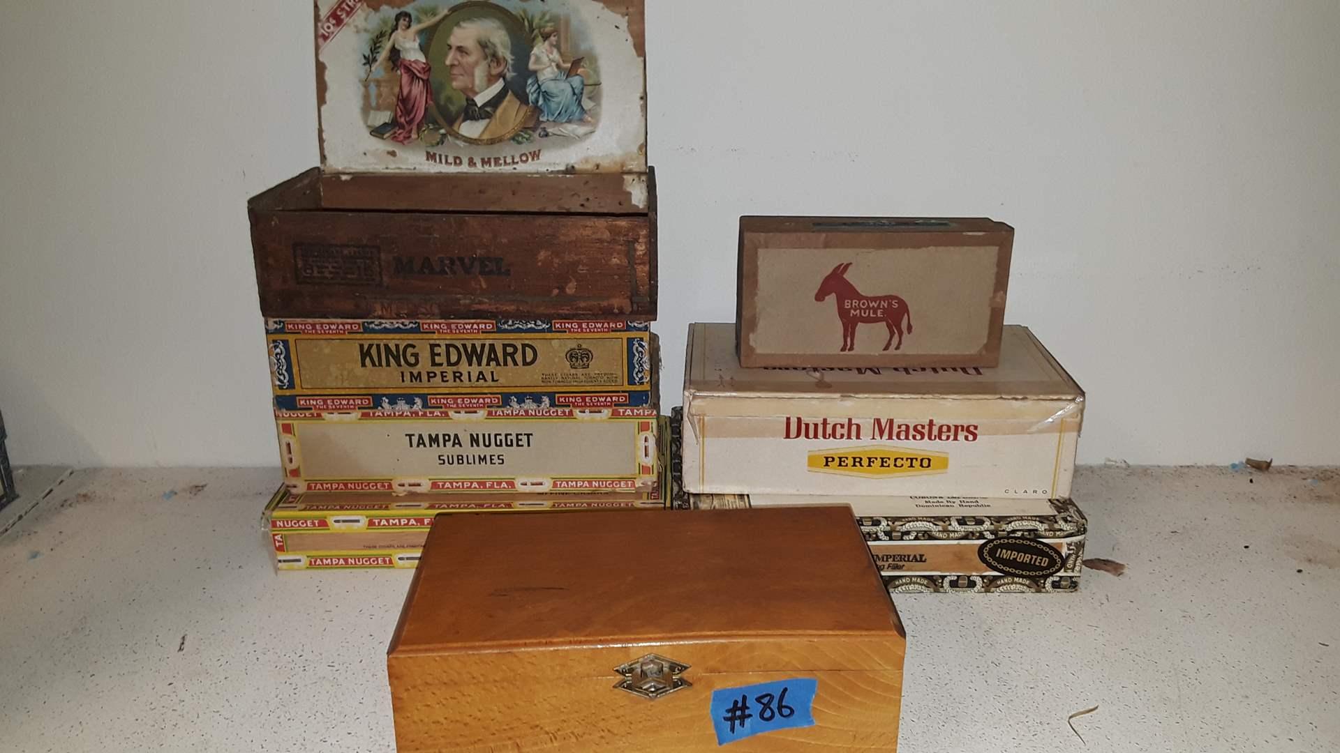 Lot # 86 ANTIQUE EMPTY CIGAR BOXES