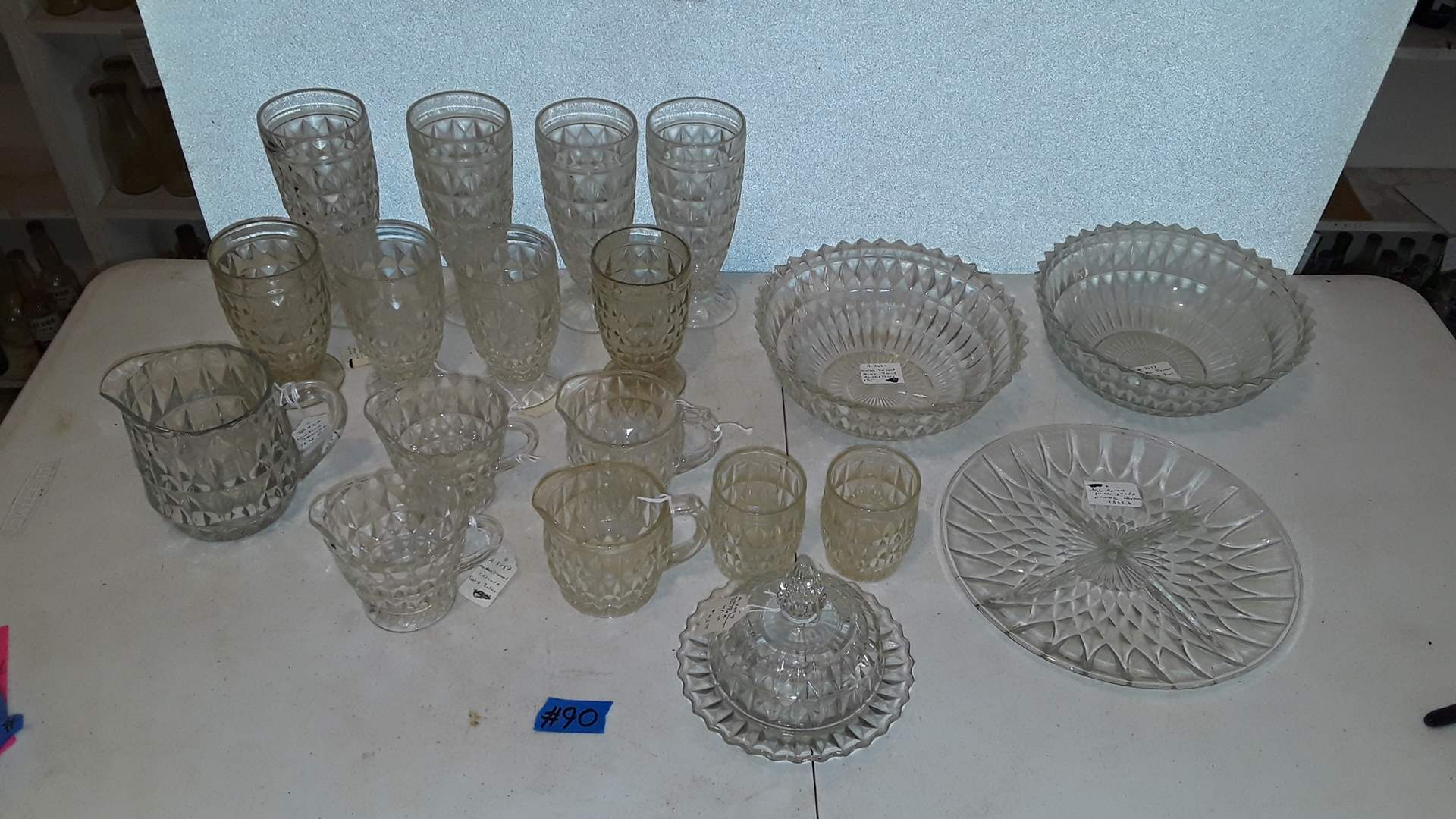 Lot # 90 ANTIQUE WINDSOR DIAMOND DISHES, GOOD CONDITION