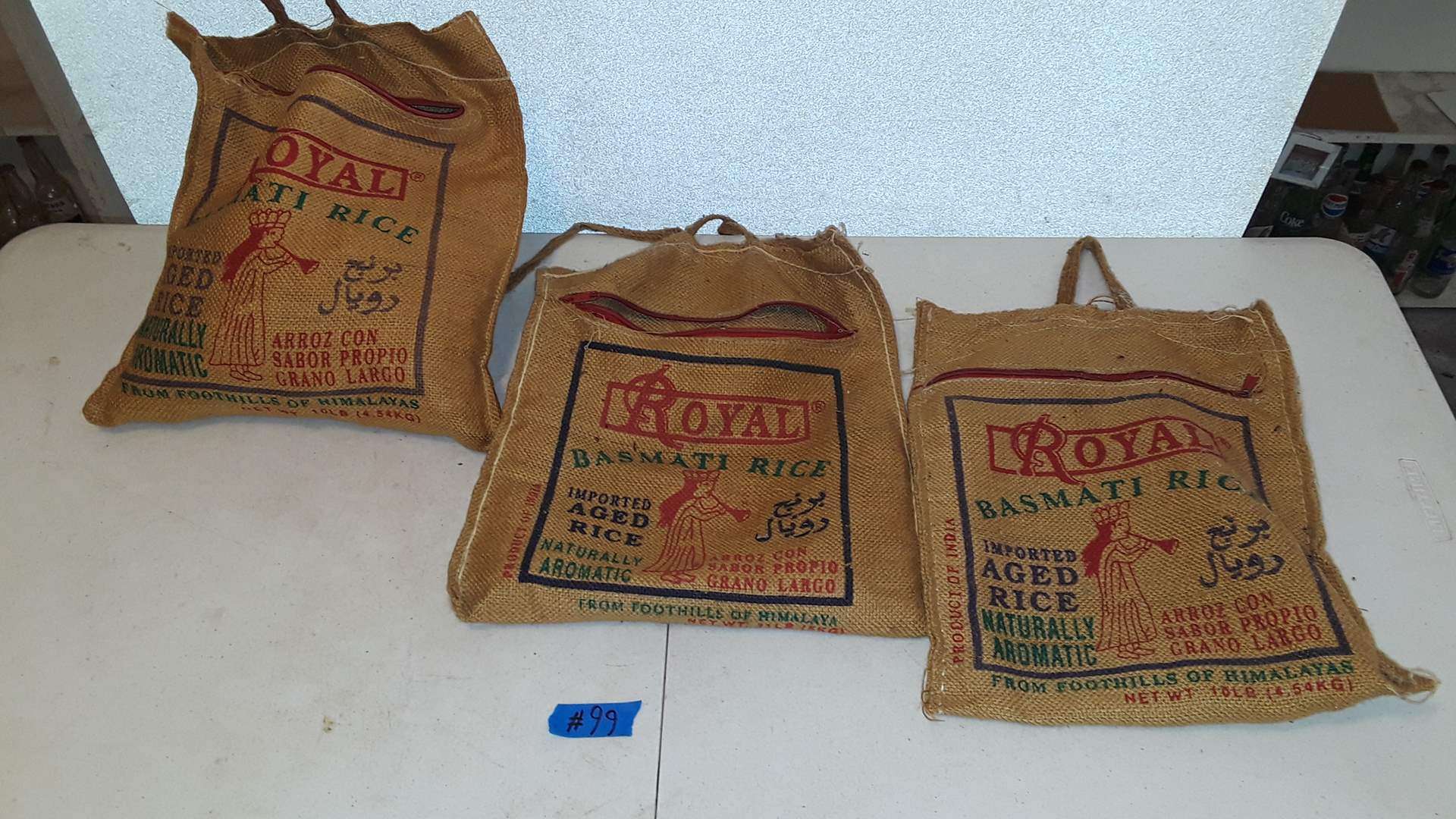 Lot # 99 - 3 VINTAGE CLOTHESPIN BAGS WITH ZIPPER TOP, ONE IS FULL OF CLOTHESPINS
