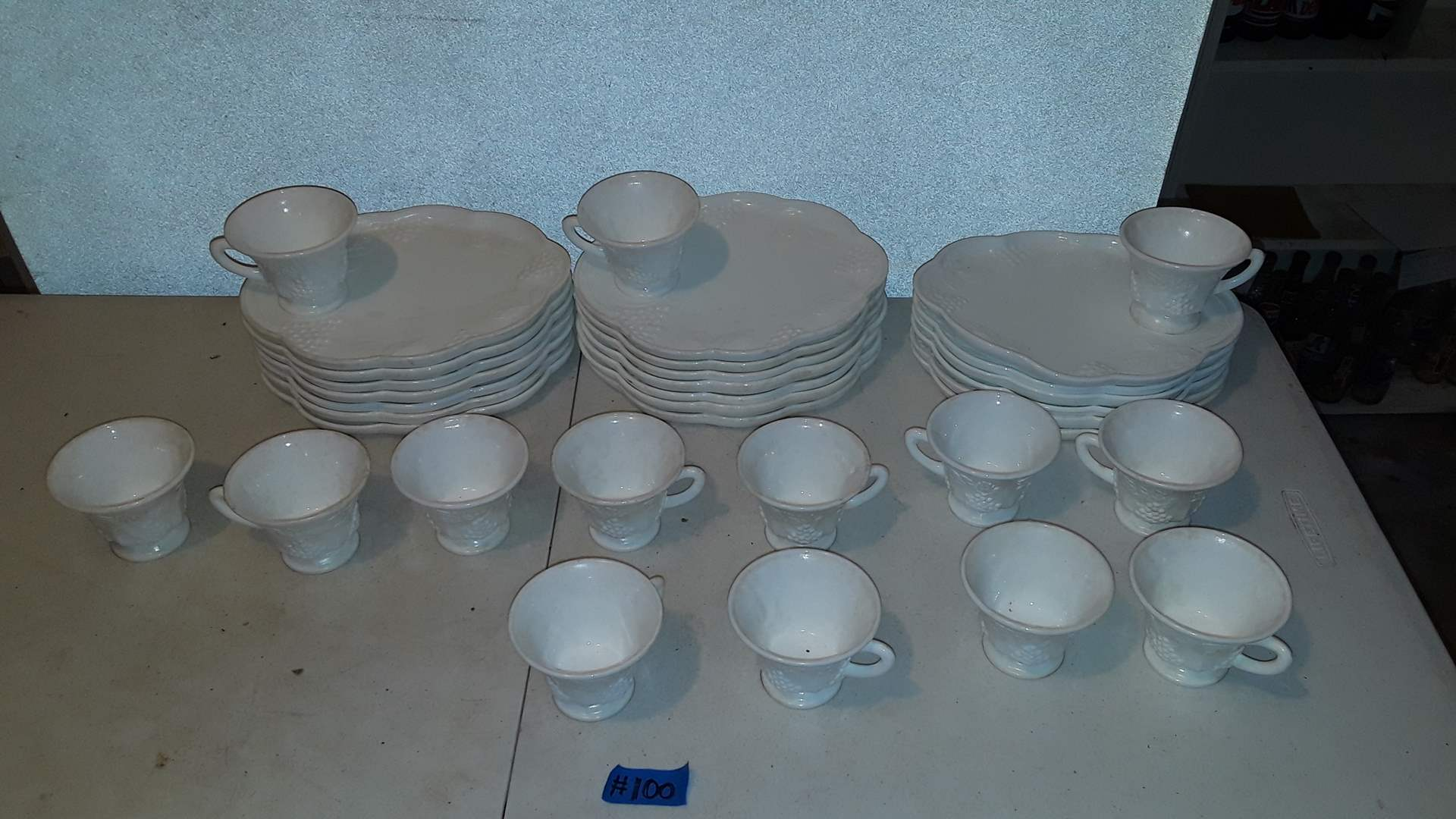 Lot # 100 INDIANA GLASS GRAPES MILK GLASS SNACK PLATES WITH CUPS, 20 PLATES, 14 CUPS