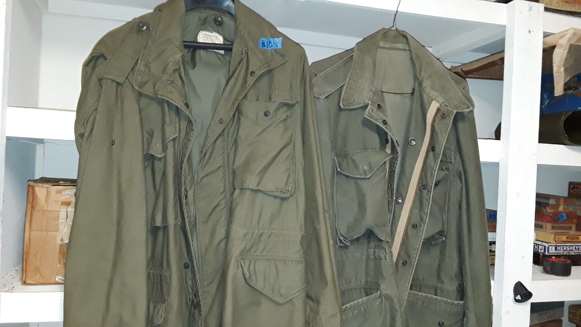 Lot # 104 - 2 VINTAGE MILITARY COATS, ONLY ONE HAS TAGS