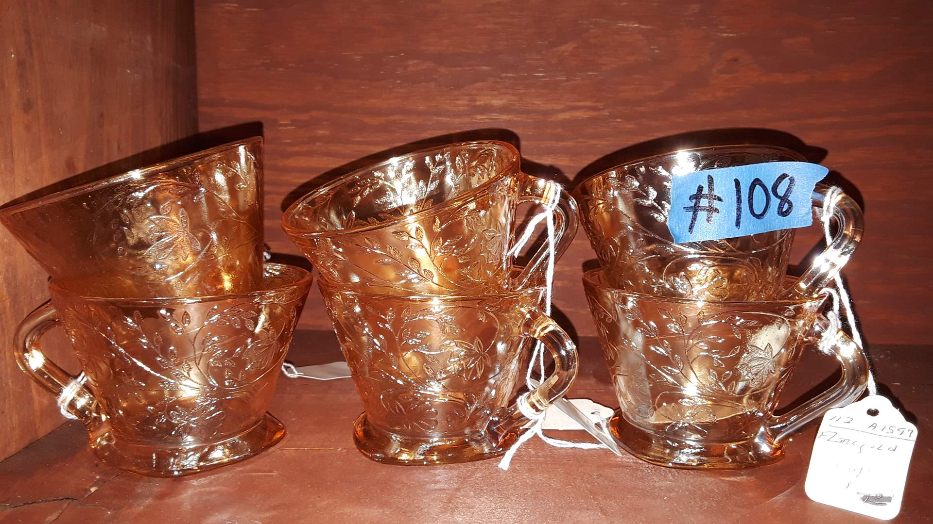 Lot # 108 - 6 ANTIQUE FLOROGOLD CUPS