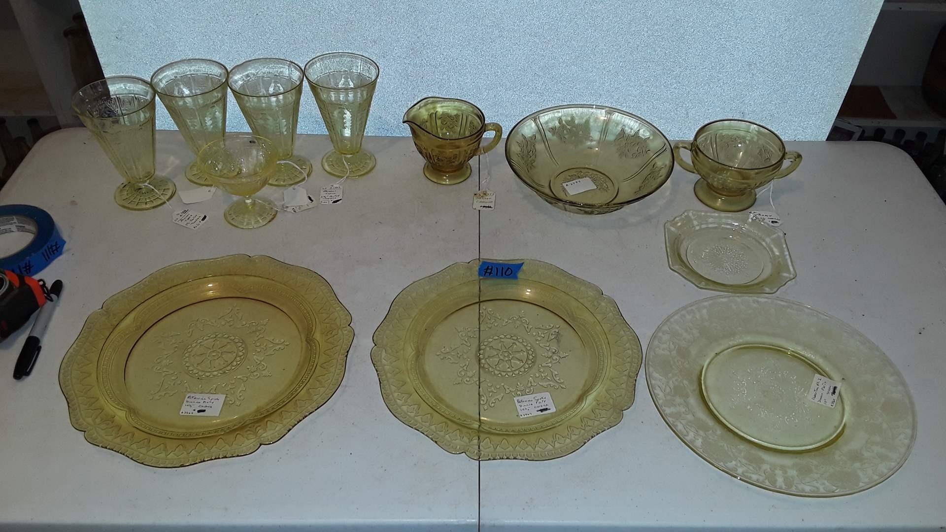 Lot # 110 ANTIQUE YELLOW DEPRESSION GLASS, PATRICIAN SPOKE, FLORENTINE, PRINCESS TOPAZ, SHARON