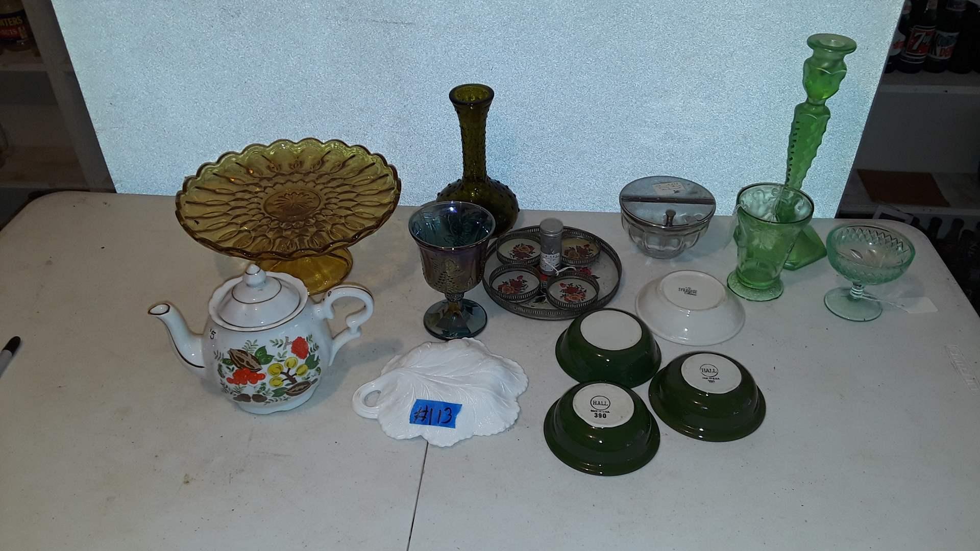 Lot # 113 ANTIQUE VINTAGE GLASSWARE, GREEN DEPRESSION GLASS