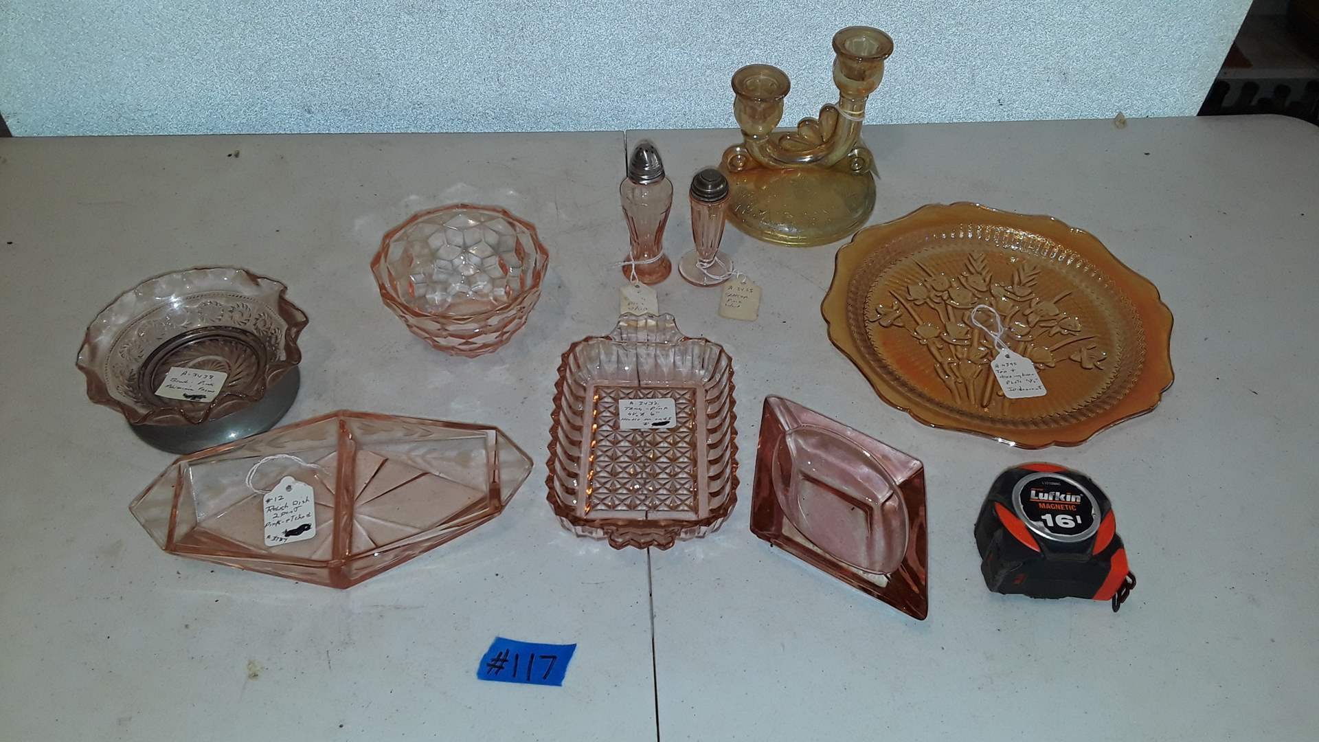 Lot # 117 ANTIQUE PINK DEPRESSION GLASS AND COLLECTABLE DISHWARE, IRIS AND HERRING BONE PLATE