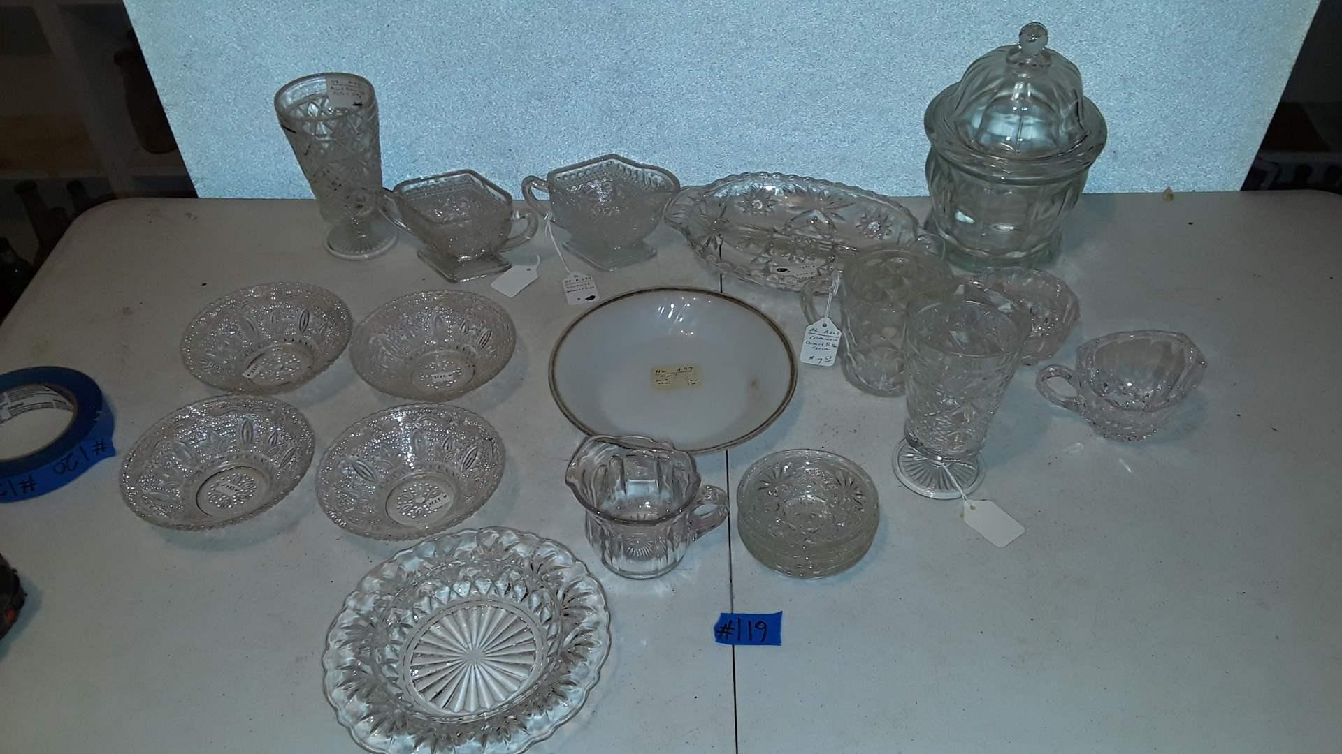 Lot # 119 ANTIQUE CLEAR GLASSWARE
