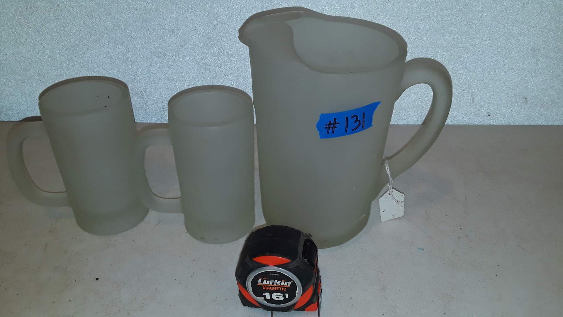 Lot # 131 HEAVY FROSTED GLASS PITCHER AND MUGS