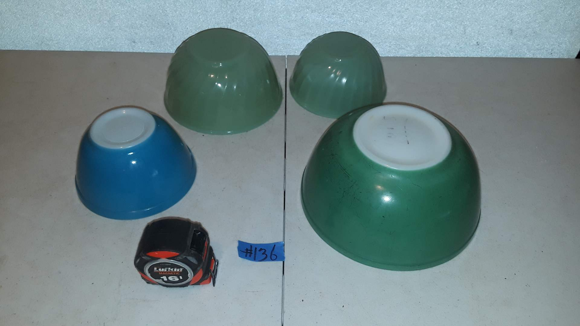 Lot # 136 PYREX PRIMARY BLUE AND GREEN, GREEN HAS MARKS, FIREKING JADEITE GOOD CONDITION