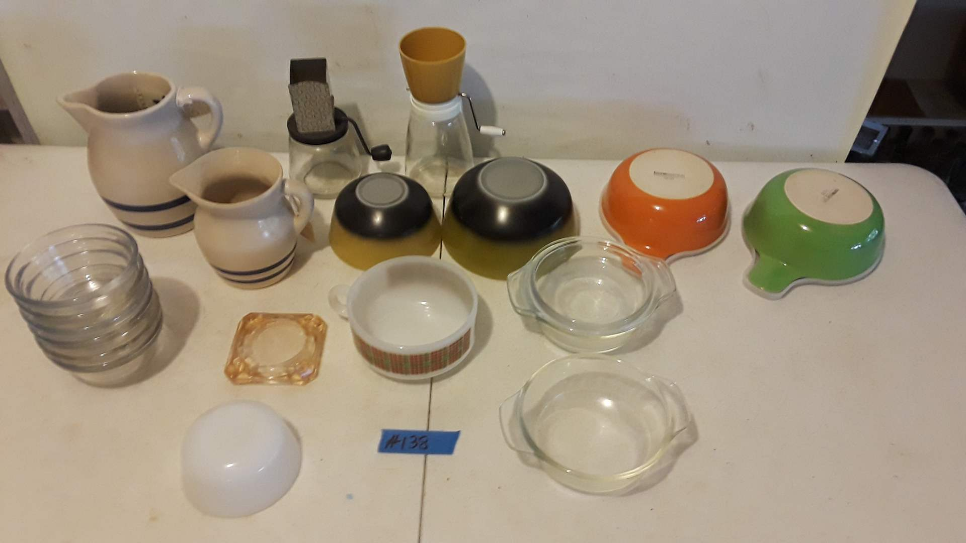 Lot # 138 ROBINSON RANSBOTTOM POTTERY CO PITCHERS, FIREKING BOWLS, MIXED COLLECTABLE GLASSWARE