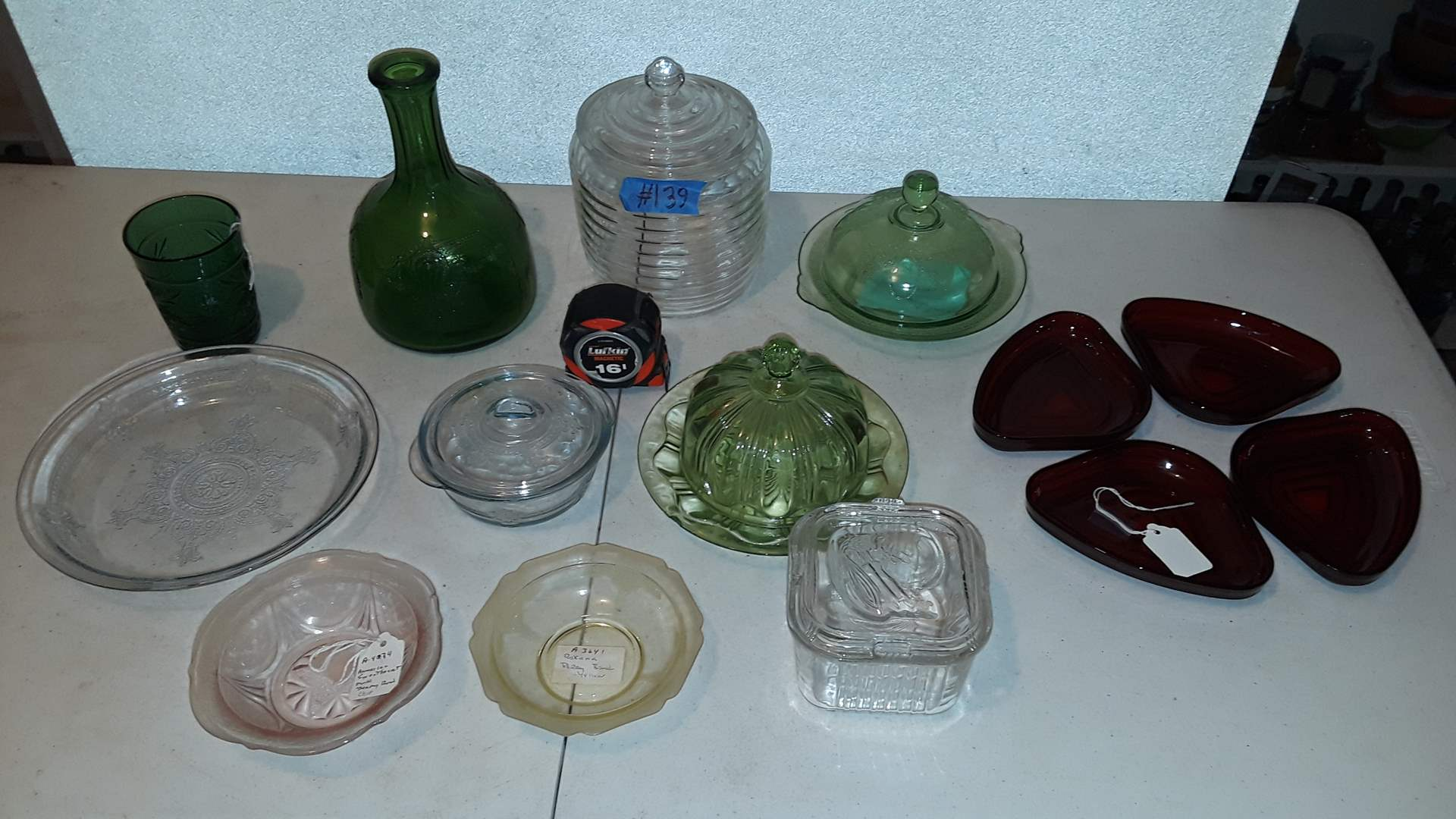Lot # 139 MIXED DEPRESSION GLASS, GREEN HAS CHIP, RED MANHATTAN RELISH SET