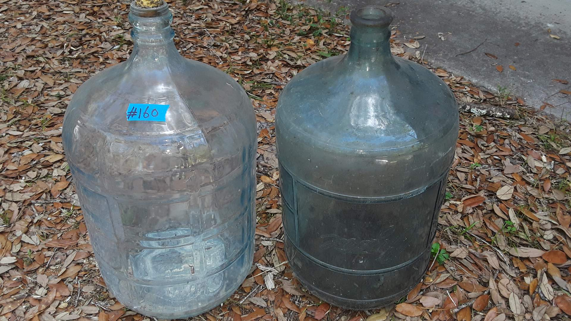 Lot # 160 - 2 FULL SIZE WATER BOTTLES, CRYSTAL SPRINGS WATER CO MIAMI FL, OTHER IS UNMARKED, GOOD CONDITION NEEDS CLEANING