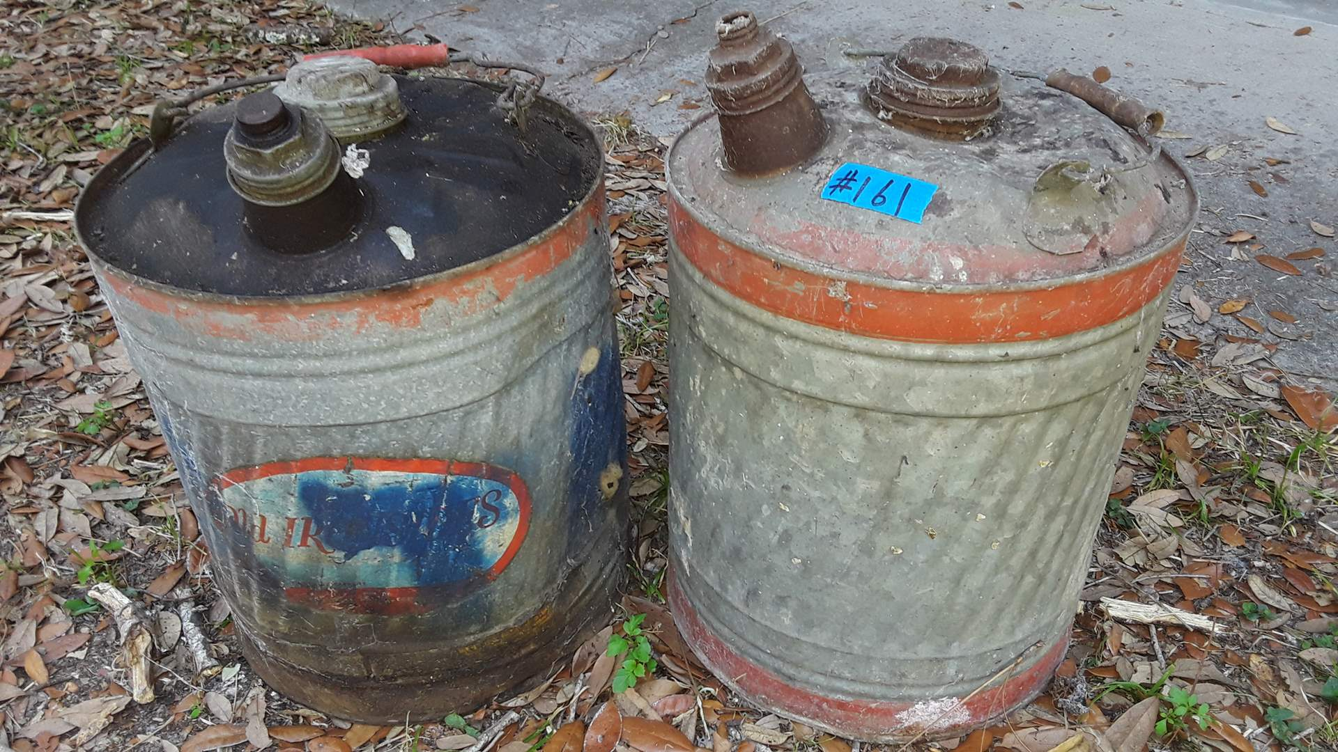 Lot # 161 - 2 LARGE GALVANIZED GAS CANS, OLD IRONSIDES