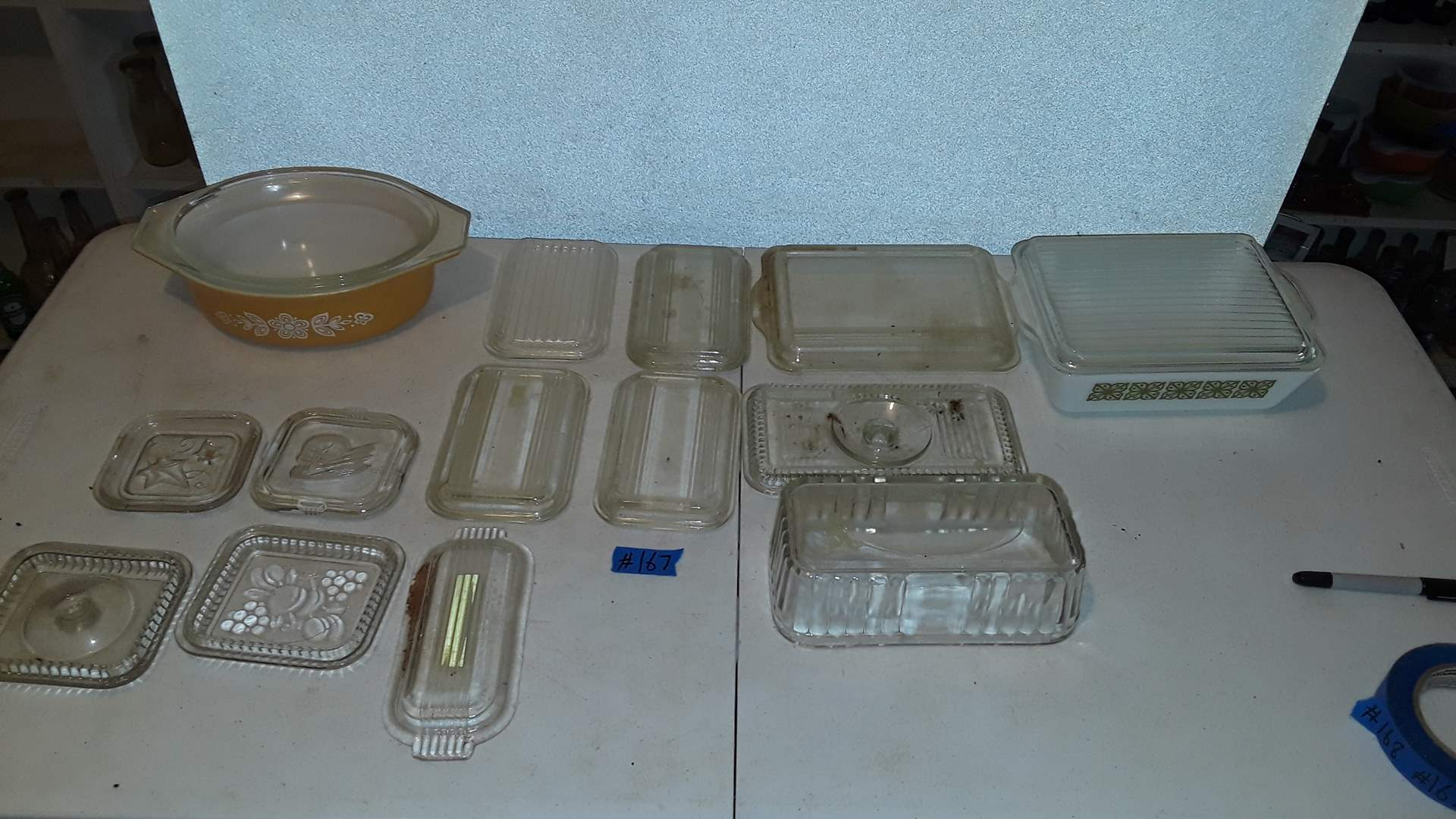 Lot # 167 PYREX VERDE SQUARE FLOWER, BUTTERFLY GOLD AND EXTRA REFRIGERATOR GLASS LIDS, GOOD CONDITION