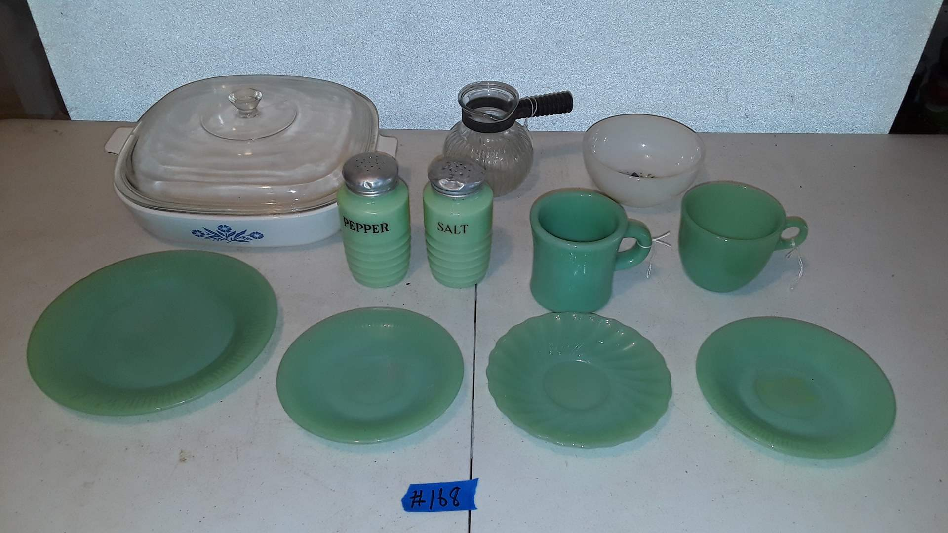 Lot # 168 CORNING WARE BLUE CORNFLOWER AND VINTAGE JADEITE, ONE PLATE HAS CHIP