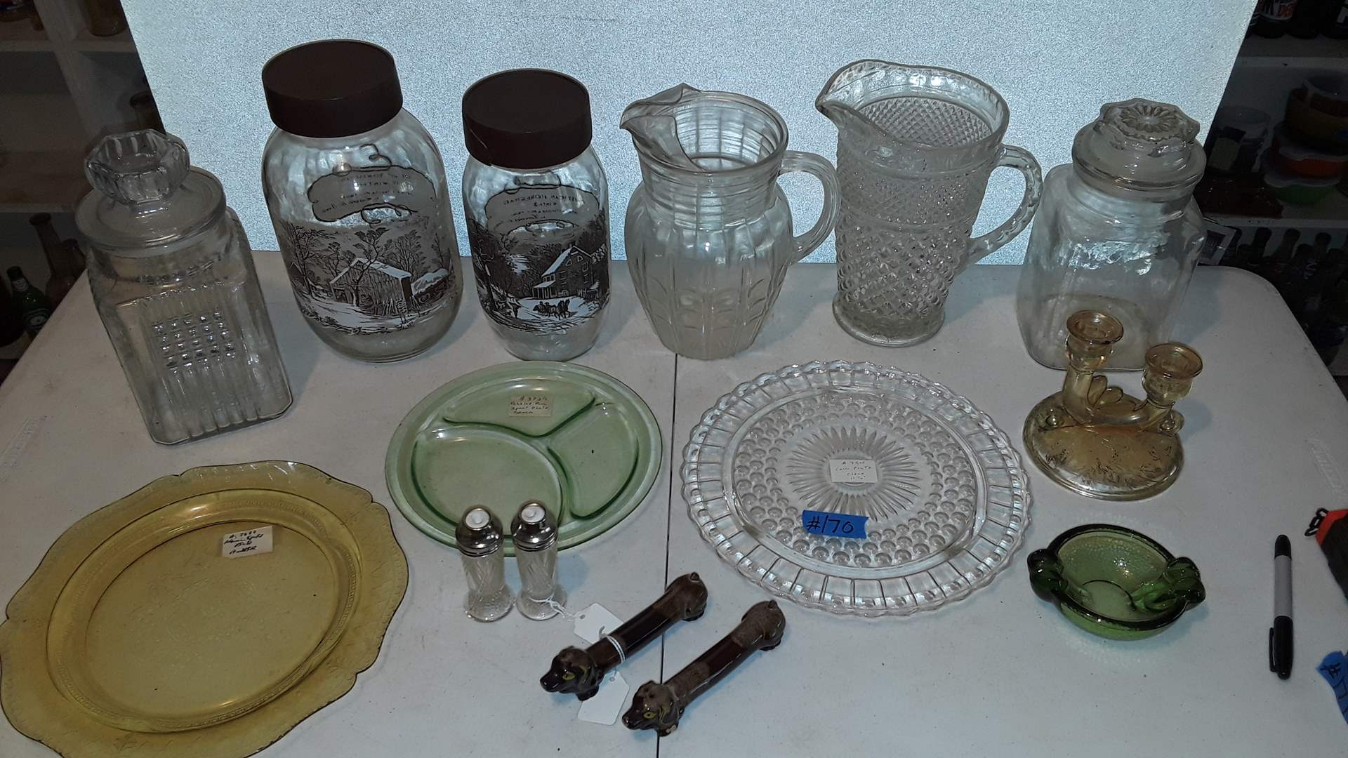 Lot # 170 CURRIER AND IVES CANISTERS ONE HAS CRACKED LID, ANTIQUE GLASSWARE