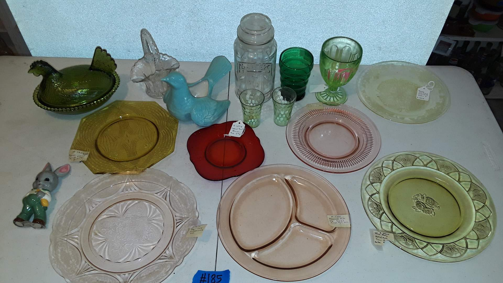 Lot # 185 GREEN GLASS HEN ON NEST, MIXED COLLECTABLE DEPRESSION GLASS