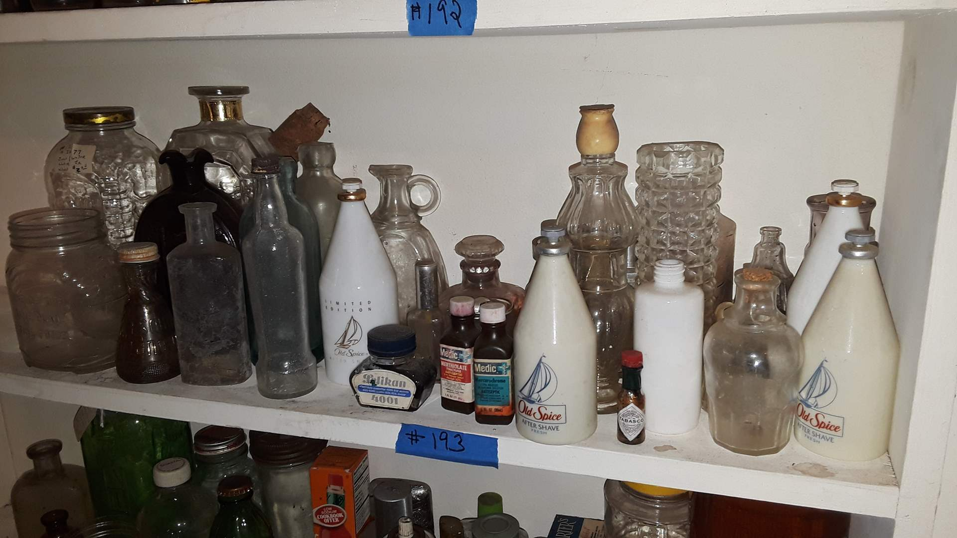 Lot # 193 VINTAGE AND ANTIQUE BOTTLES, OLD SPICE, SUCCESS TO THE TRAIL ROAD BOTTLE