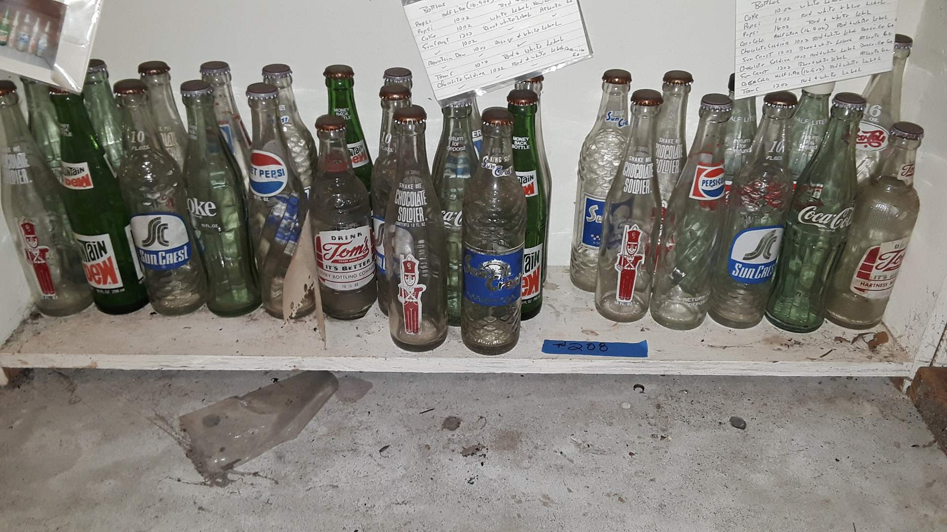 Lot # 208 COLLECTIBLE SODA BOTTLES, SUN CREST, CHOCOLATE SOLDIER, TOM'S