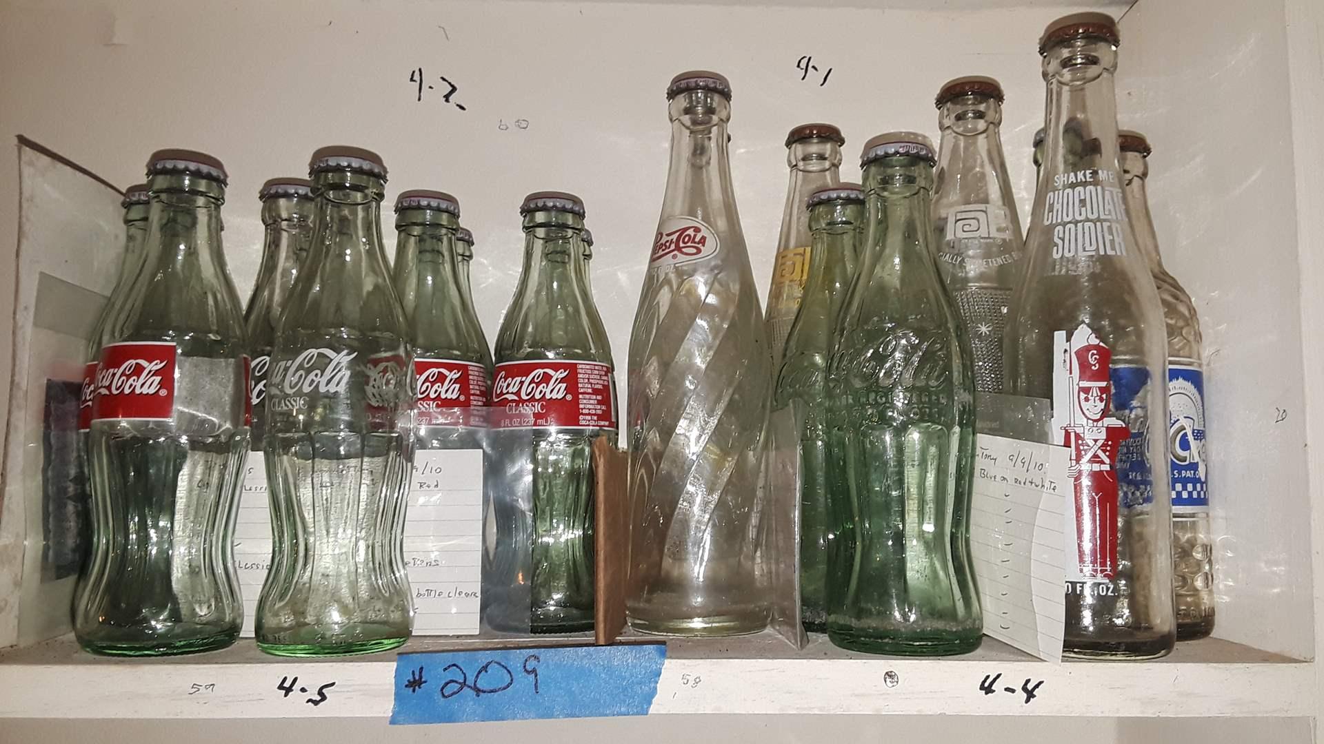 Lot # 209 COLLECTIBLE SODA BOTTLES, COKE, PEPSI, CHOCOLATE SOLDIER, SUN CREST