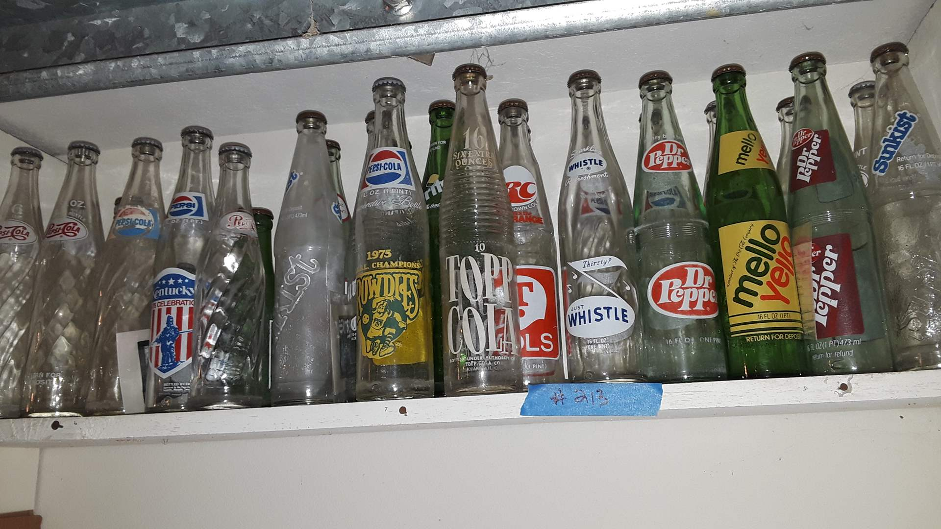 Lot # 213 COLLECTIBLE SODA BOTTLES, WHISTLE, TOPP COLA, RC VOLS