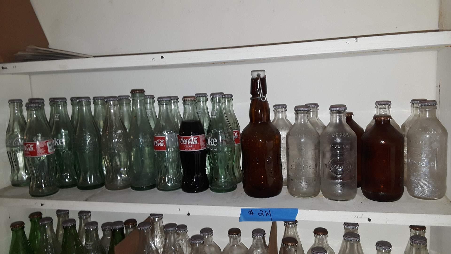 Lot # 214 COLLECTIBLE SODA BOTTLES, COKE, EMBOSSED PEPSI