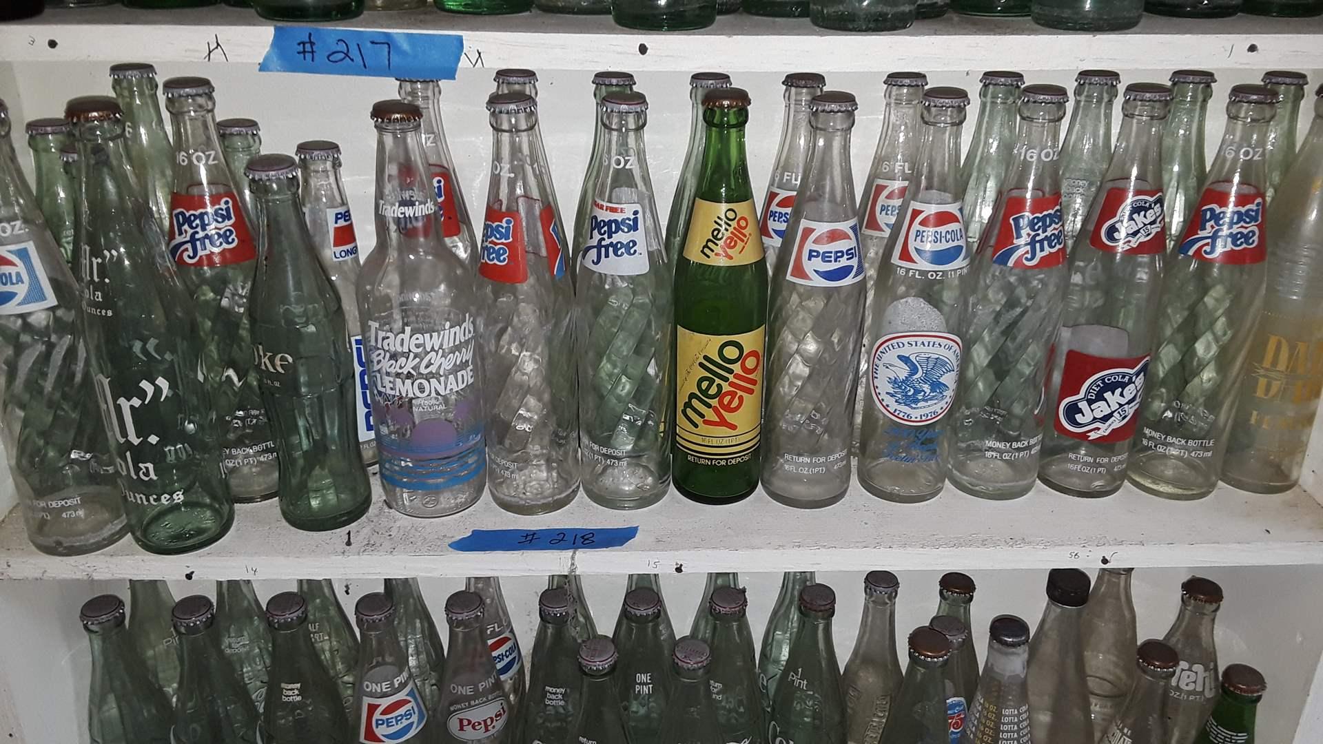 Lot # 218 COLLECTIBLE SODA BOTTLES, PEPSI FREE, MELLOW YELLOW