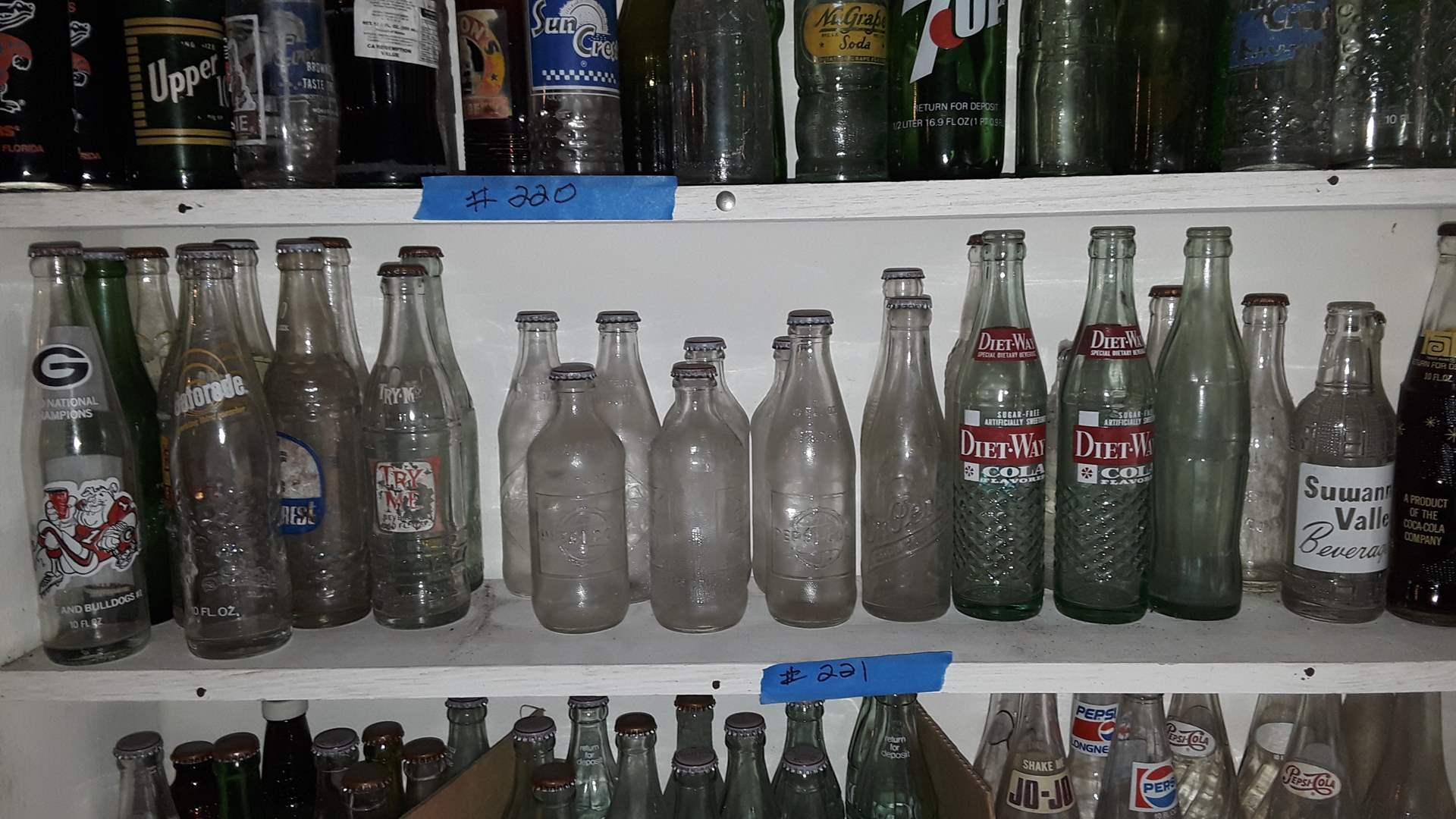 Lot # 221 COLLECTIBLE SODA BOTTLES, DIET WAY, TAB, GATORADE