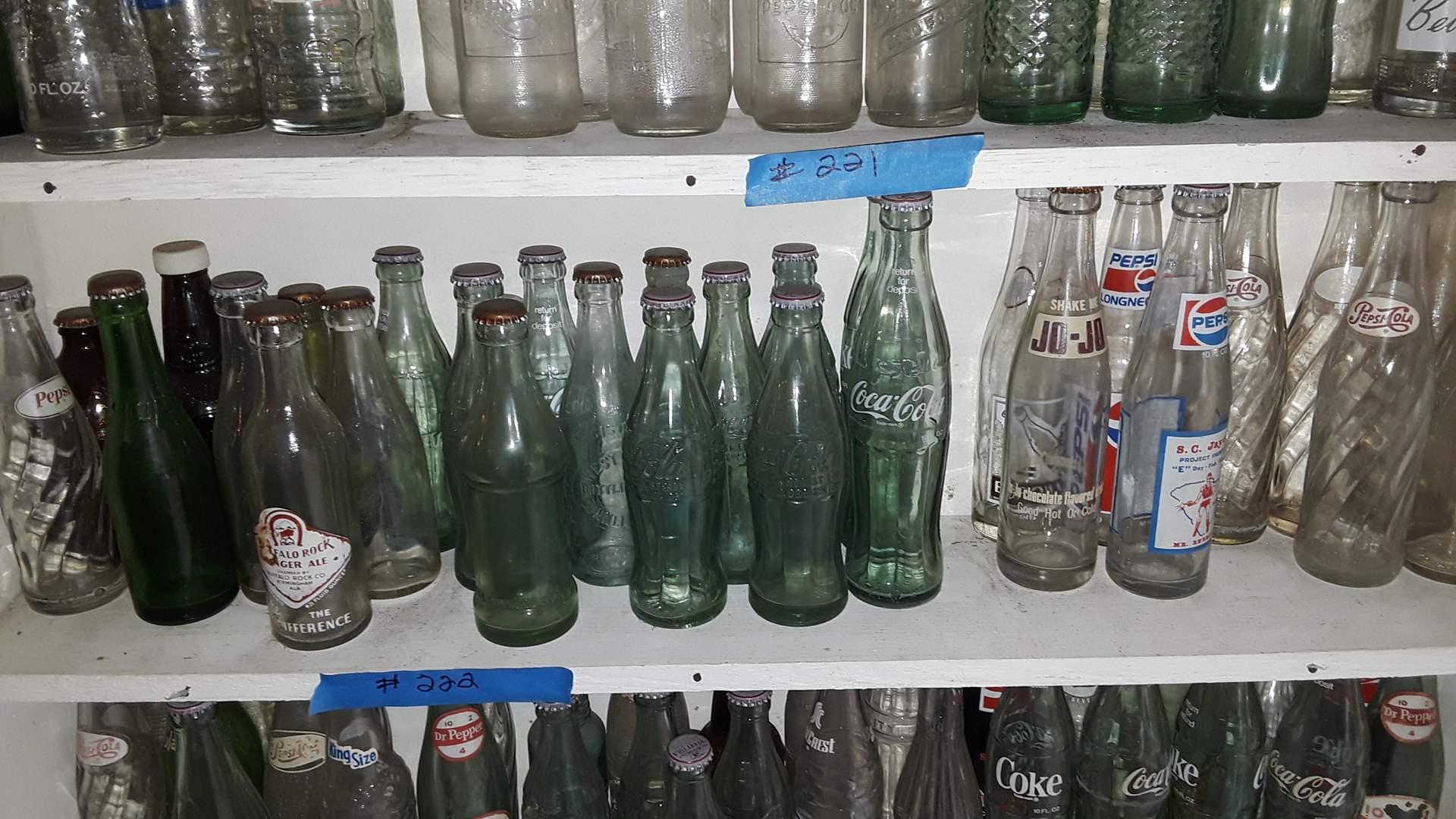 Lot # 222 COLLECTIBLE SODA BOTTLES, JO JO, COKE, PEPSI