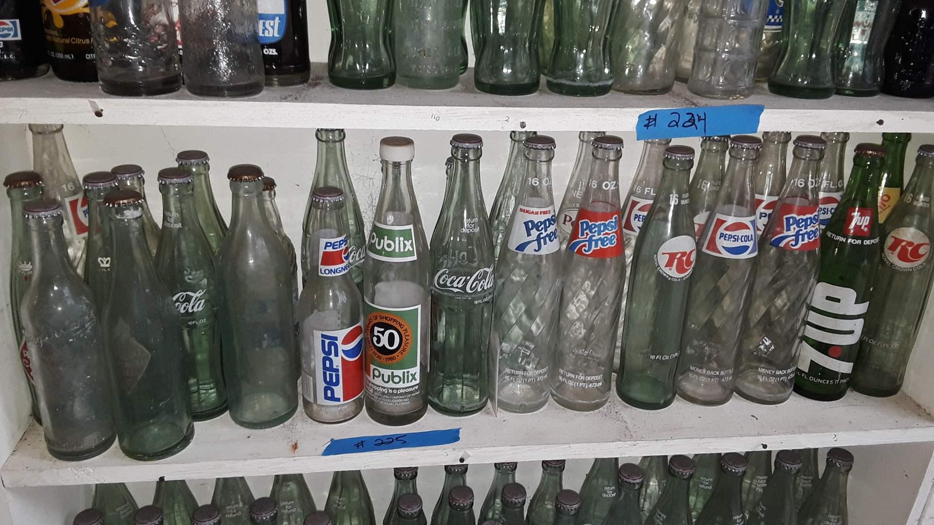 Lot # 225 COLLECTIBLE SODA BOTTLES, PEPSI, PEPSI FREE, PUBLIX