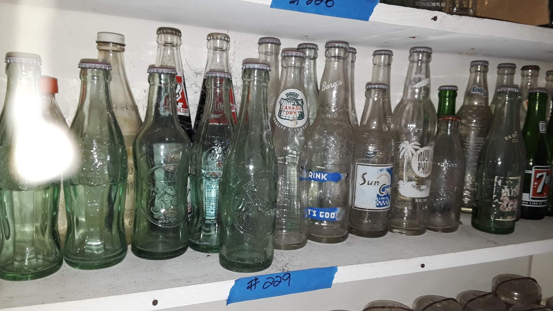 Lot # 229 COLLECTIBLE SODA BOTTLES, ALABAMA, 7-UP, EMBOSSED DR PEPPER