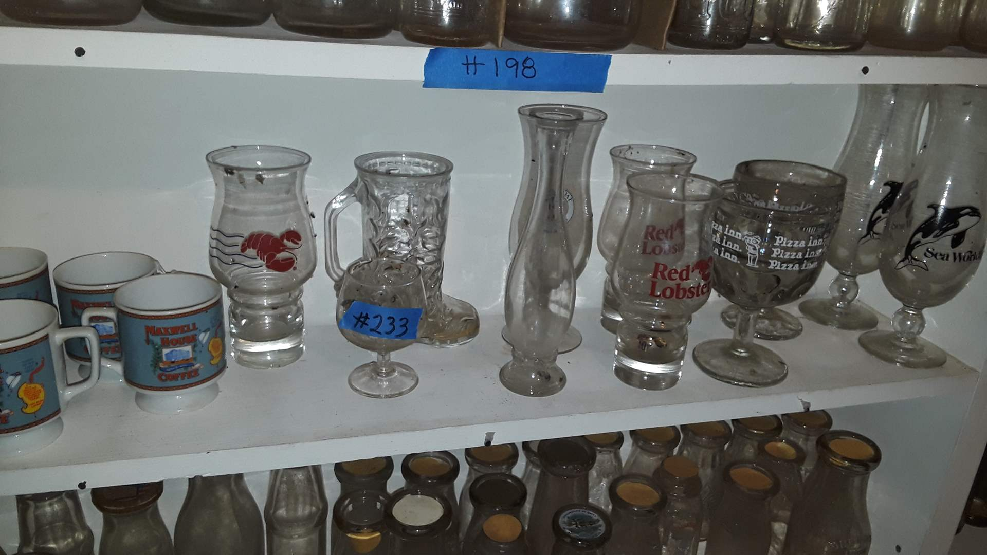 Lot # 233 VINTAGE GLASSES, RED LOBSTER, PIZZA INN, SEA WORLD, MAXWELL HOUSE