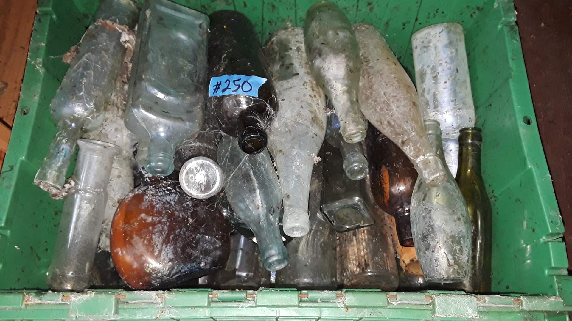 Lot # 250 PLASTIC BIN FULL OF ANTIQUE BOTTLES