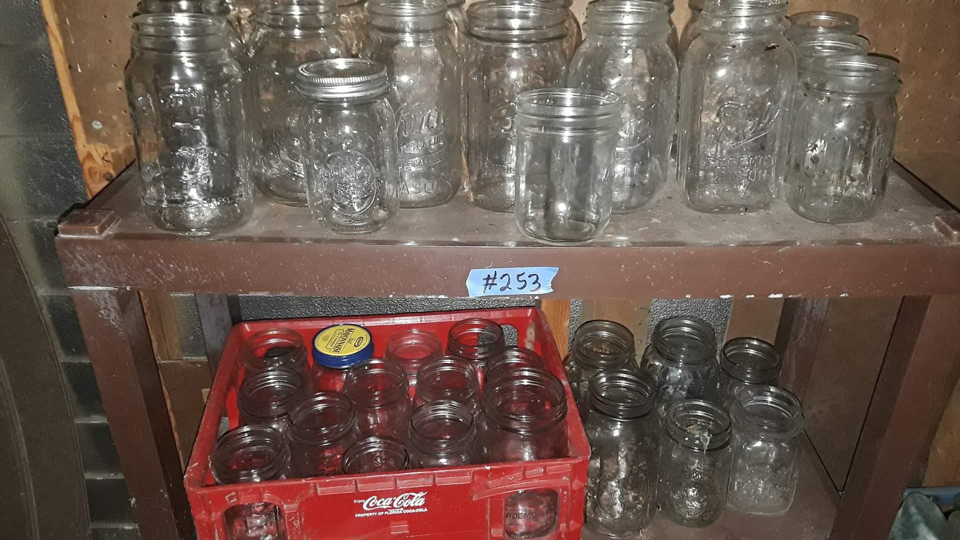 Lot # 253 MIXED MASON JARS, NO LIDS AND PLASTIC COCA COLA CRATE