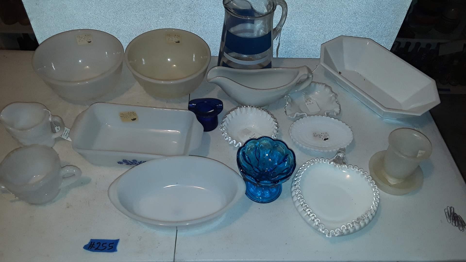 Lot # 255 VINTAGE GLASSWARE FENTON, GLASBAKE, BLUE STRIPE ICE LIP PITCHER, FIREKING BOWLS