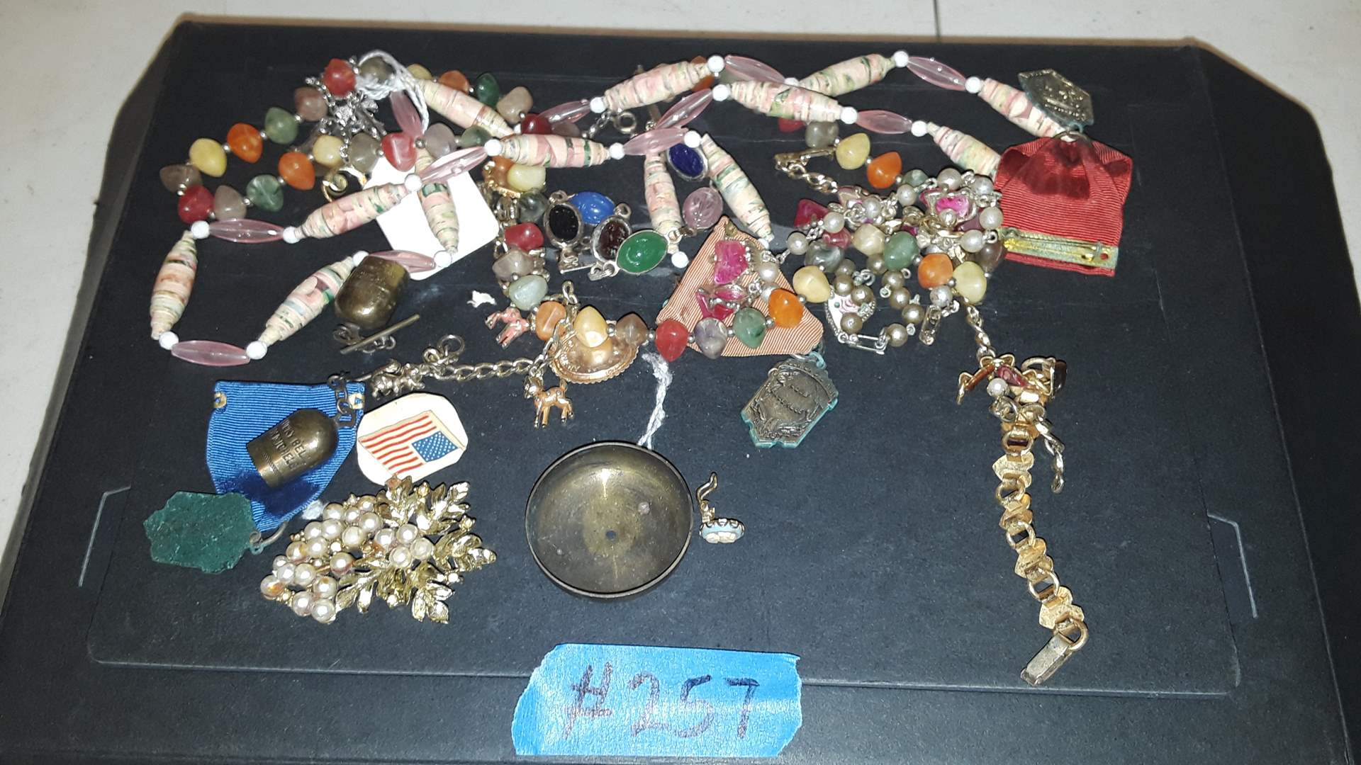 Lot # 257 COSTUME JEWELRY PINS, NECKLACES, BROOCH, BRACELETS