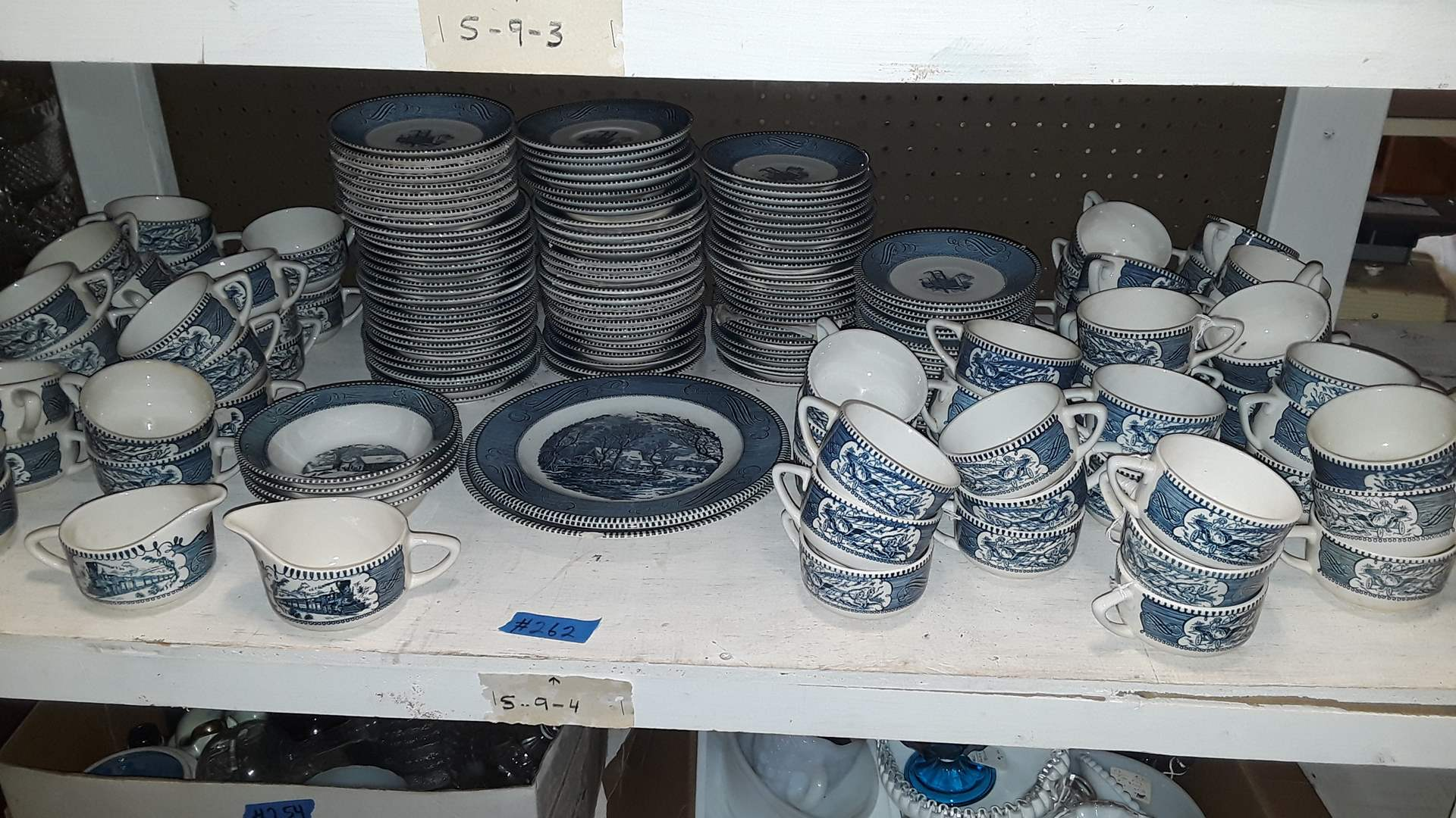 Lot # 262 VINTAGE CURRIER AND IVES DINNERWARE, GOOD CONDITION, 1 CHIPPED PLATE